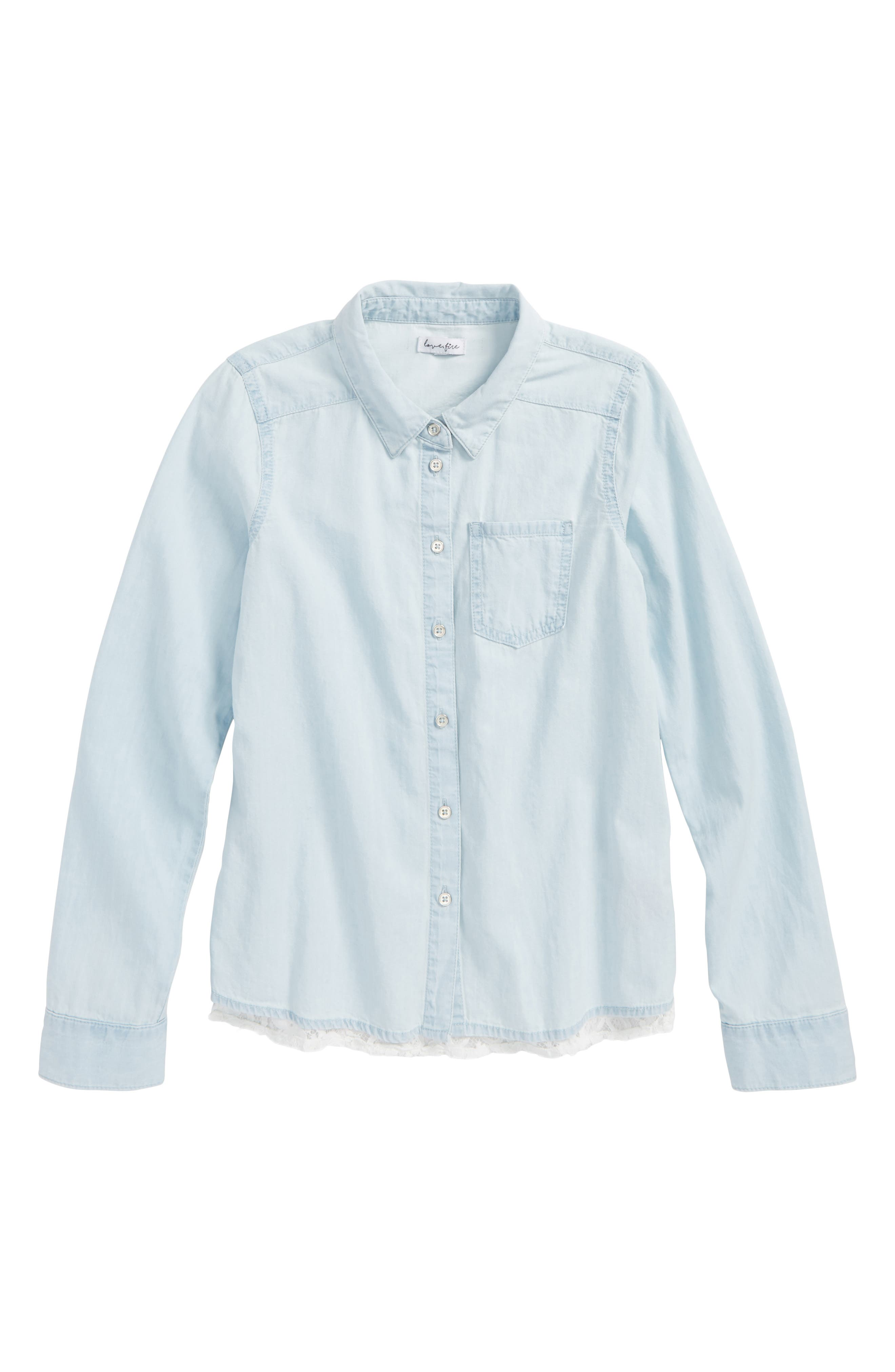 Chambray Lace Trim Shirt,                         Main,                         color,