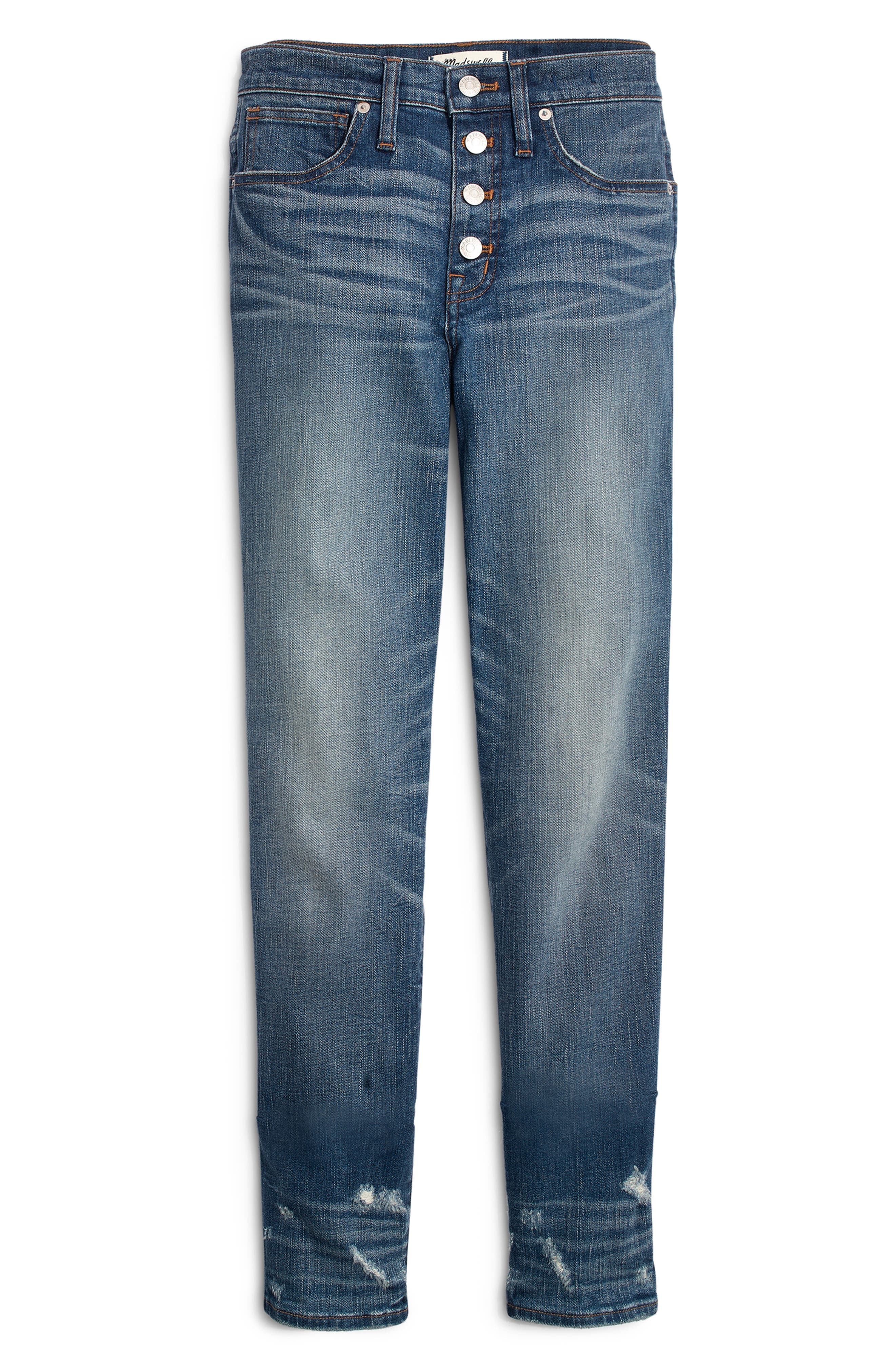 Distressed Button Front High Waist Slim Straight Jeans,                             Alternate thumbnail 4, color,                             CAROLINE