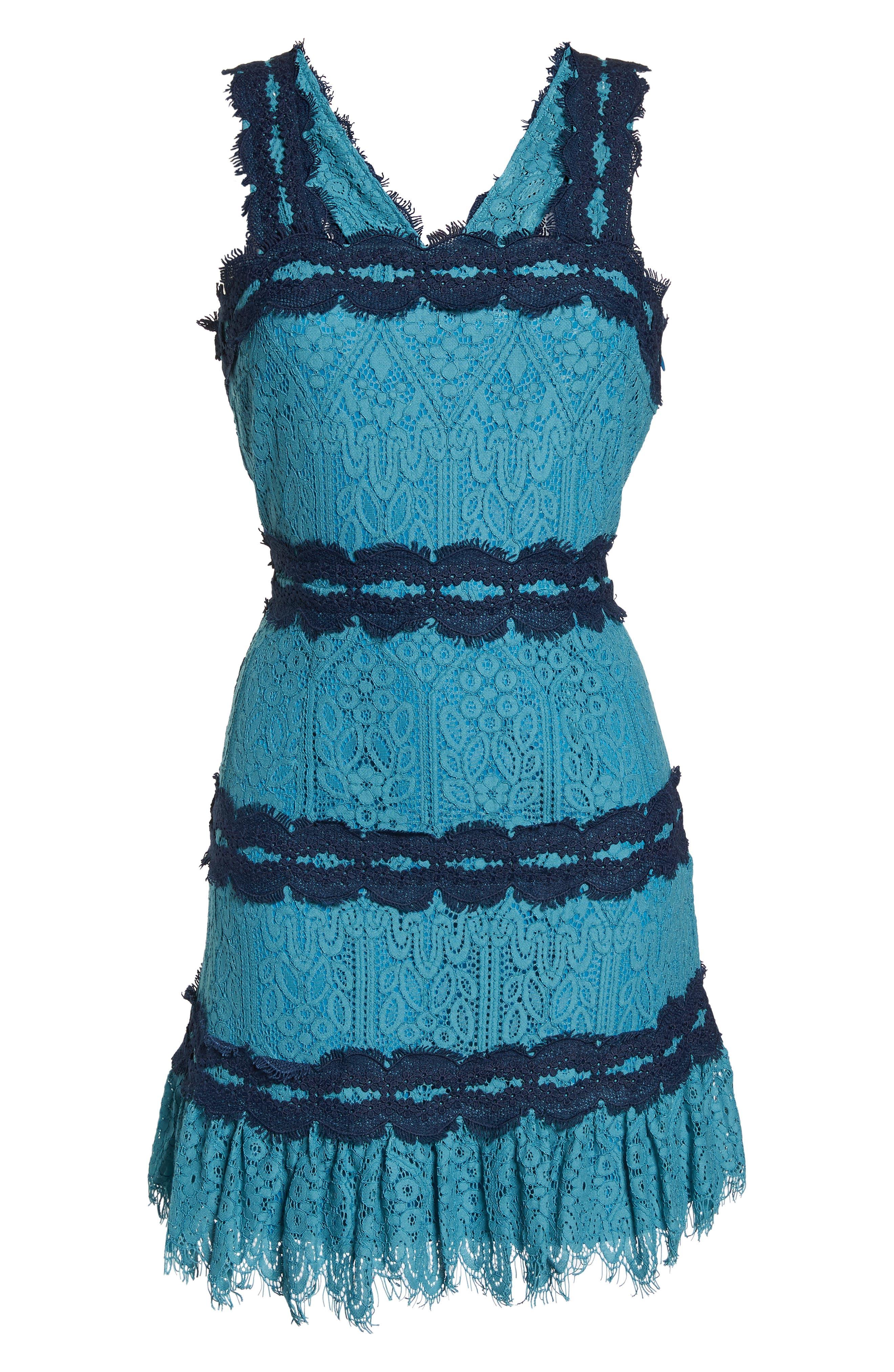 Lula Ruffle Lace Dress,                             Alternate thumbnail 7, color,                             TEAL/ NAVY