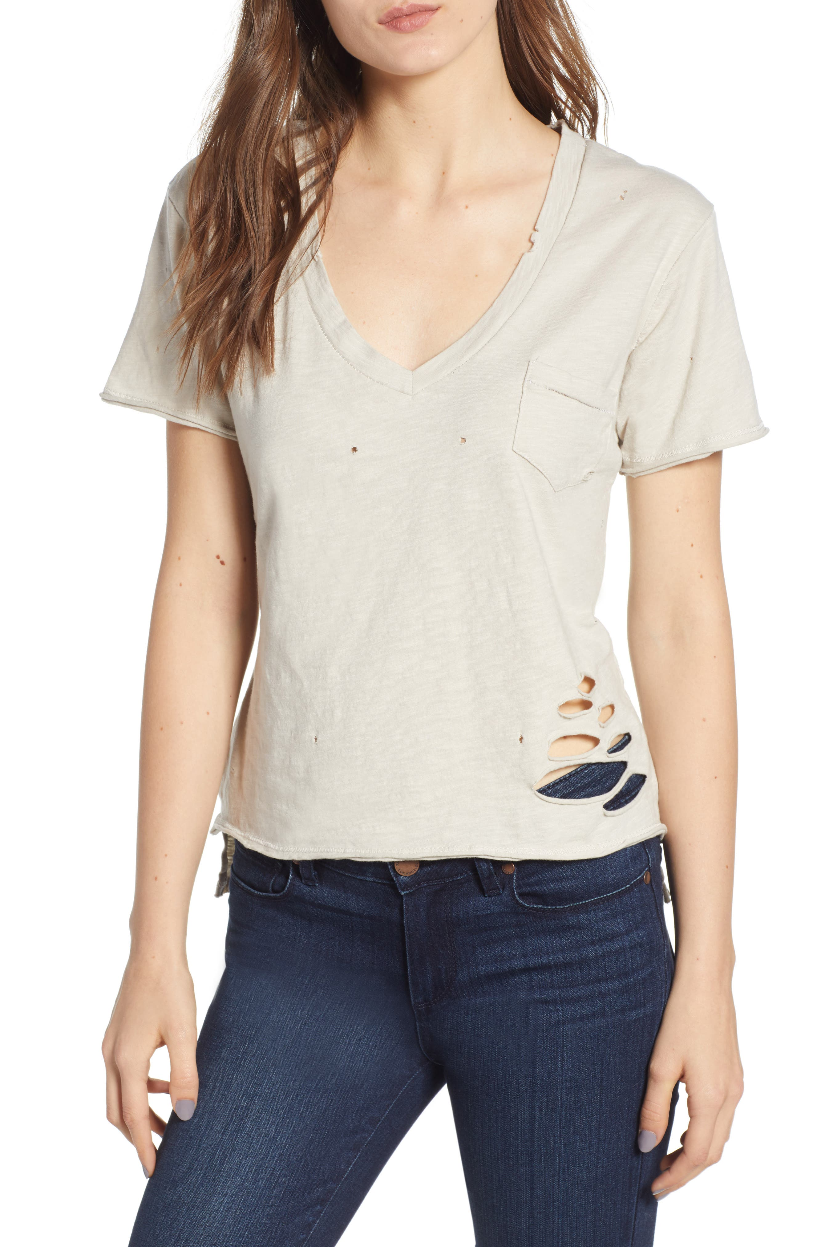 Distressed V-Neck Tee,                         Main,                         color,