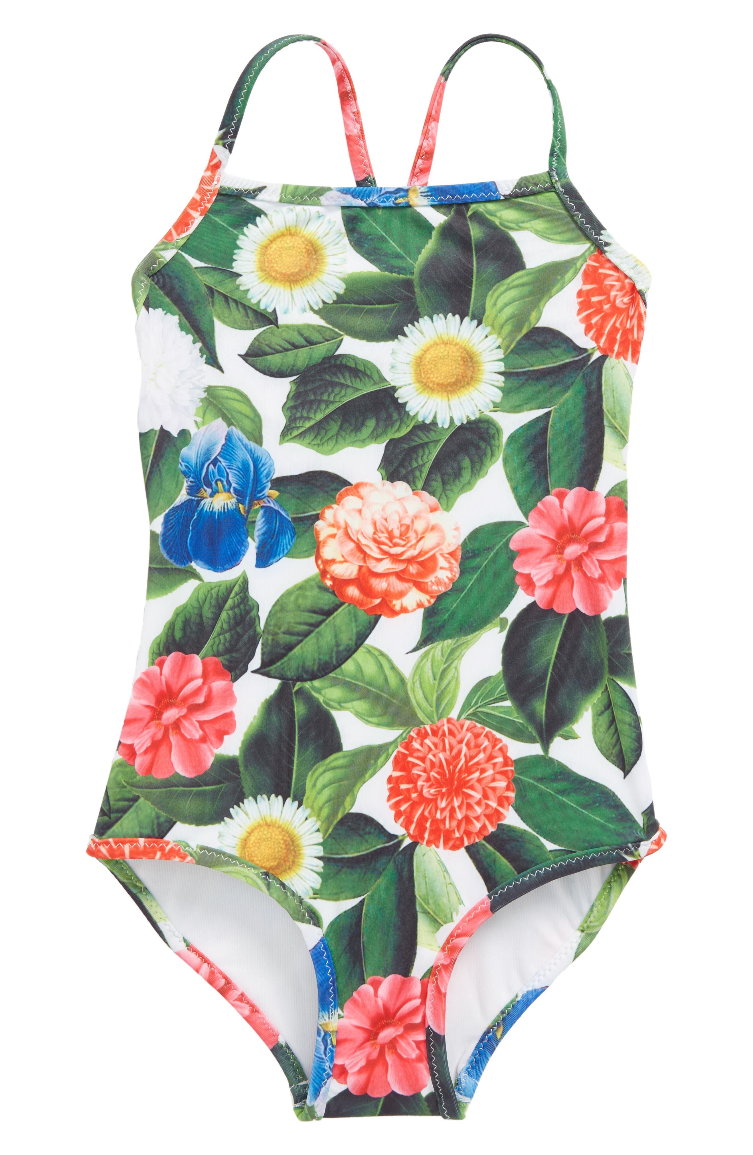 Flower Jungle One-Piece Swimsuit,                             Main thumbnail 1, color,