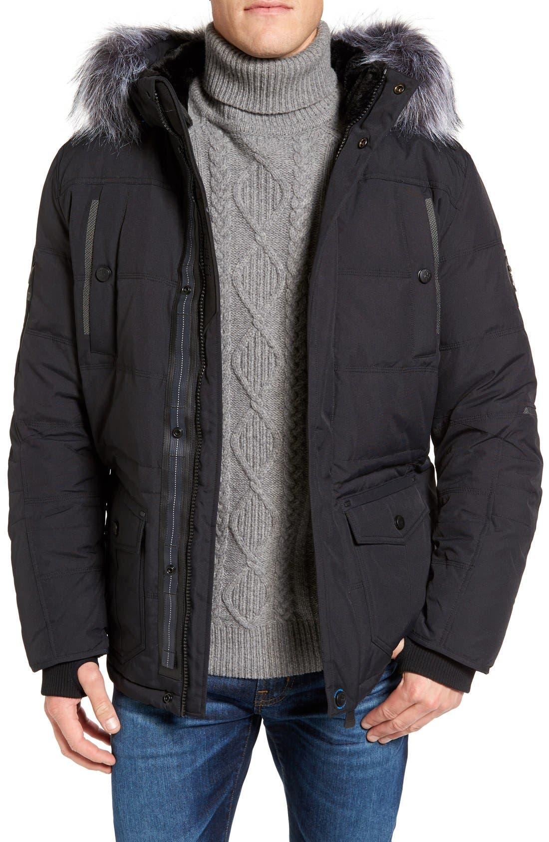 Down Jacket with Faux Fur Trim, Main, color, 001