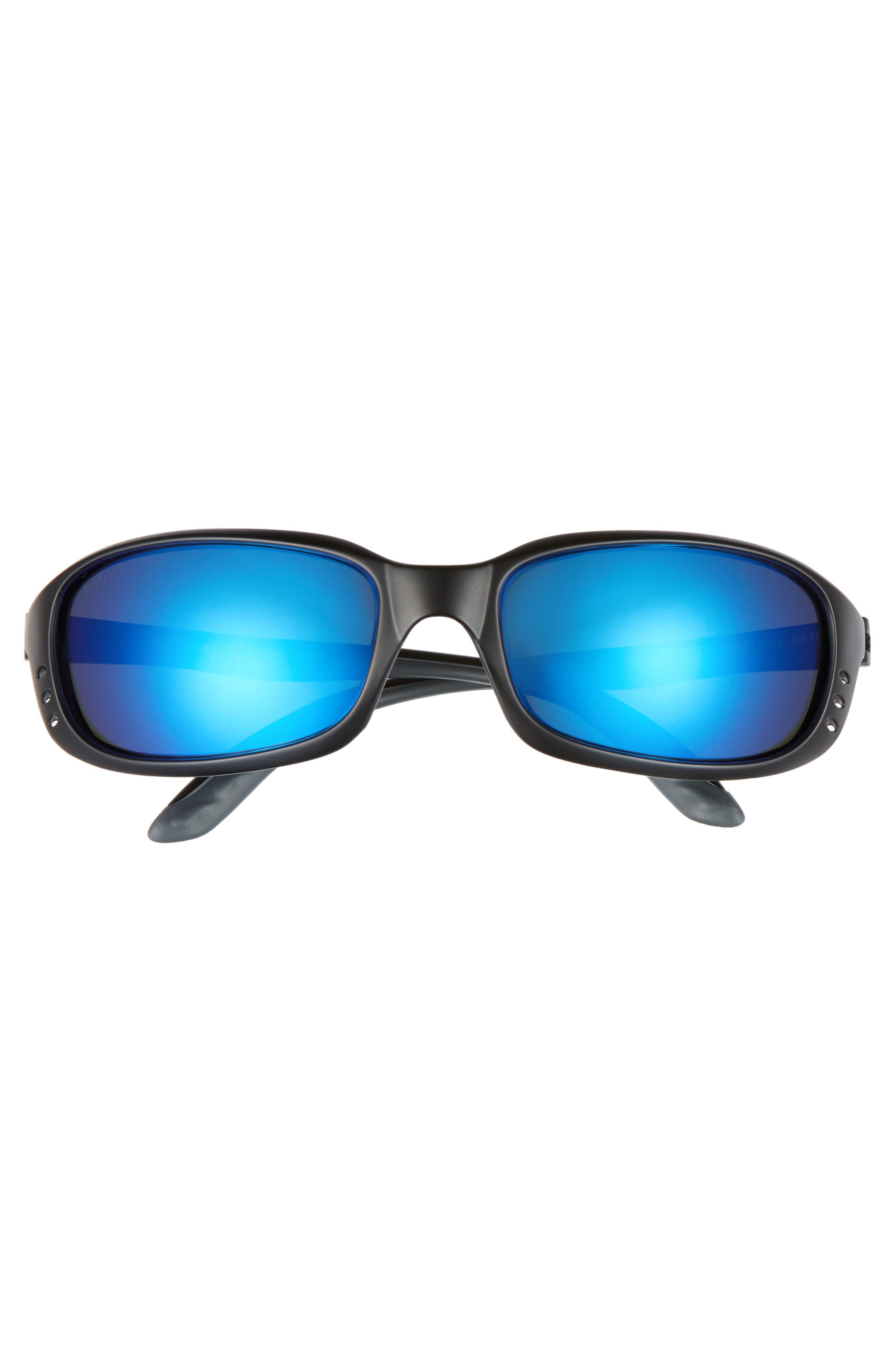 Brine 60mm Polarized Sunglasses,                             Alternate thumbnail 2, color,                             BLACK/ BLUE MIRROR