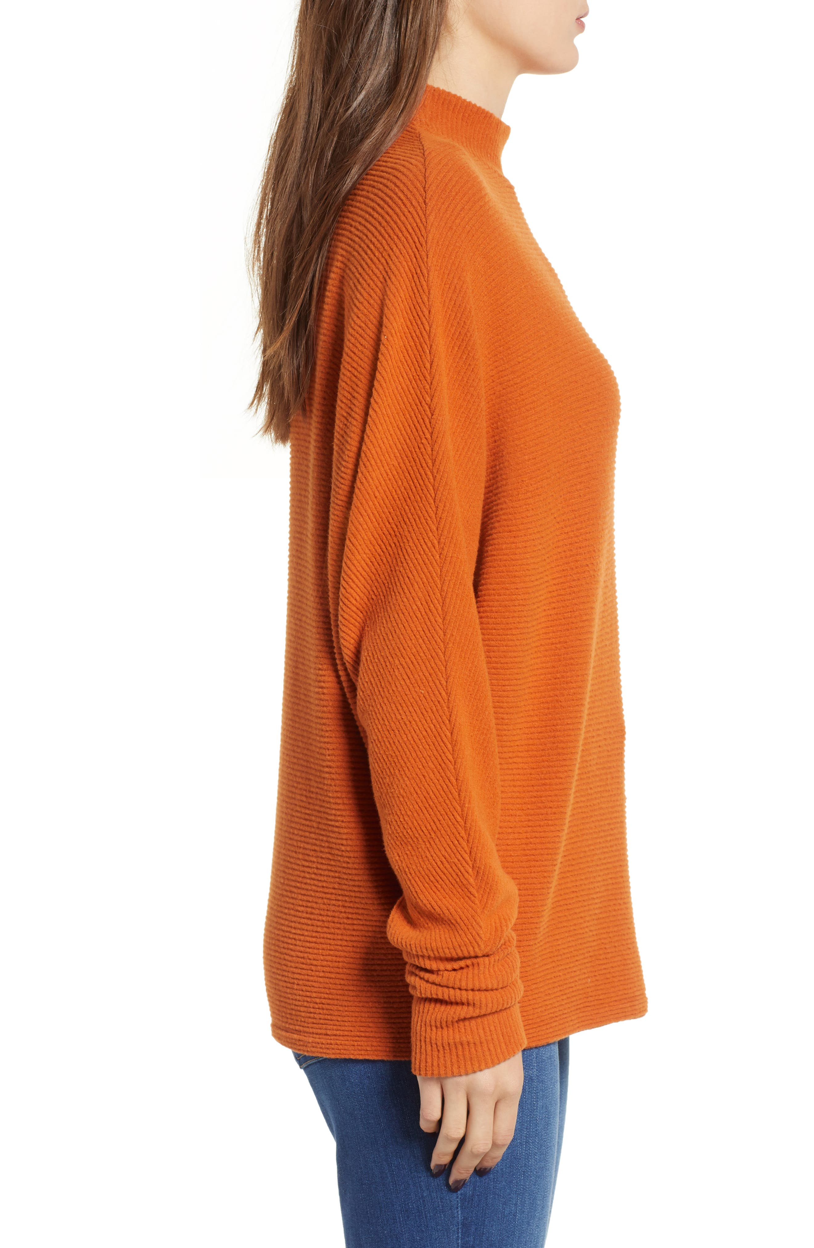 Dolman Sleeve Ribbed Top,                             Alternate thumbnail 4, color,                             RUST CIDER