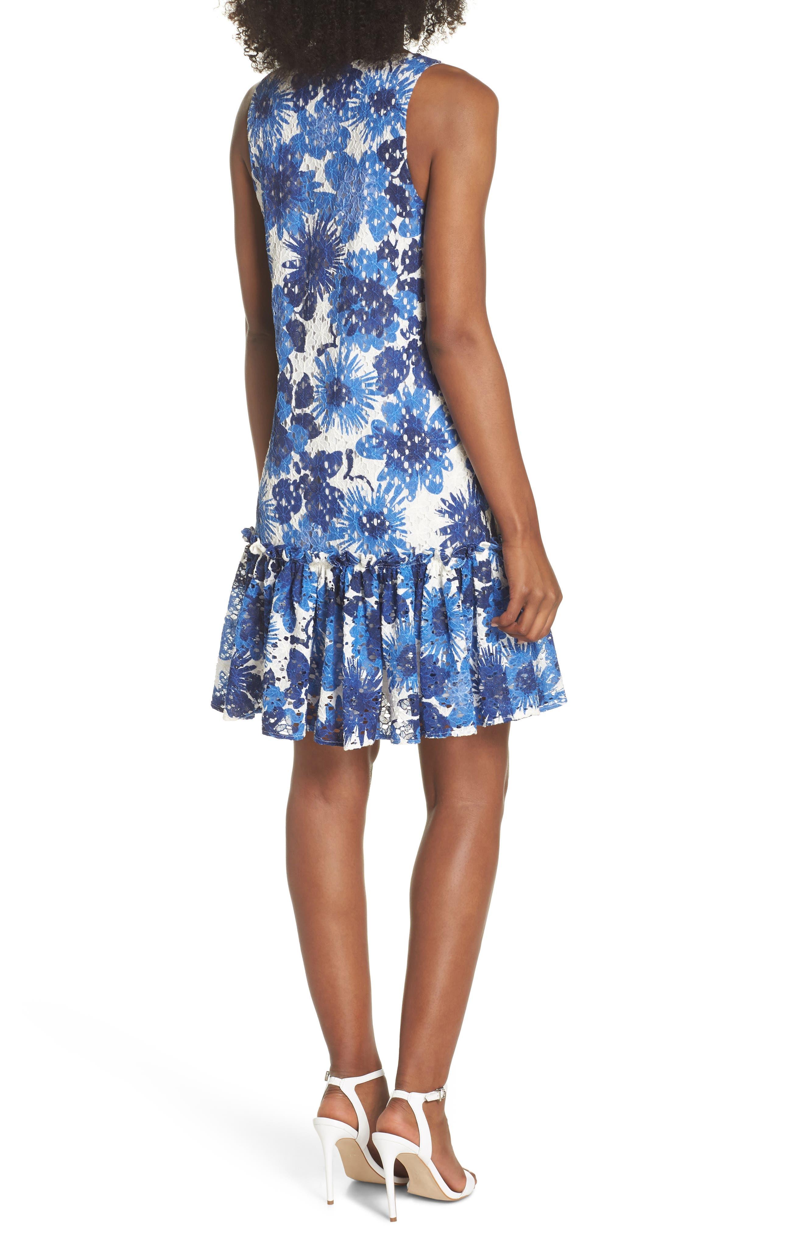 La Costa Print Ruffle Hem Lace Dress,                             Alternate thumbnail 2, color,                             MULTI