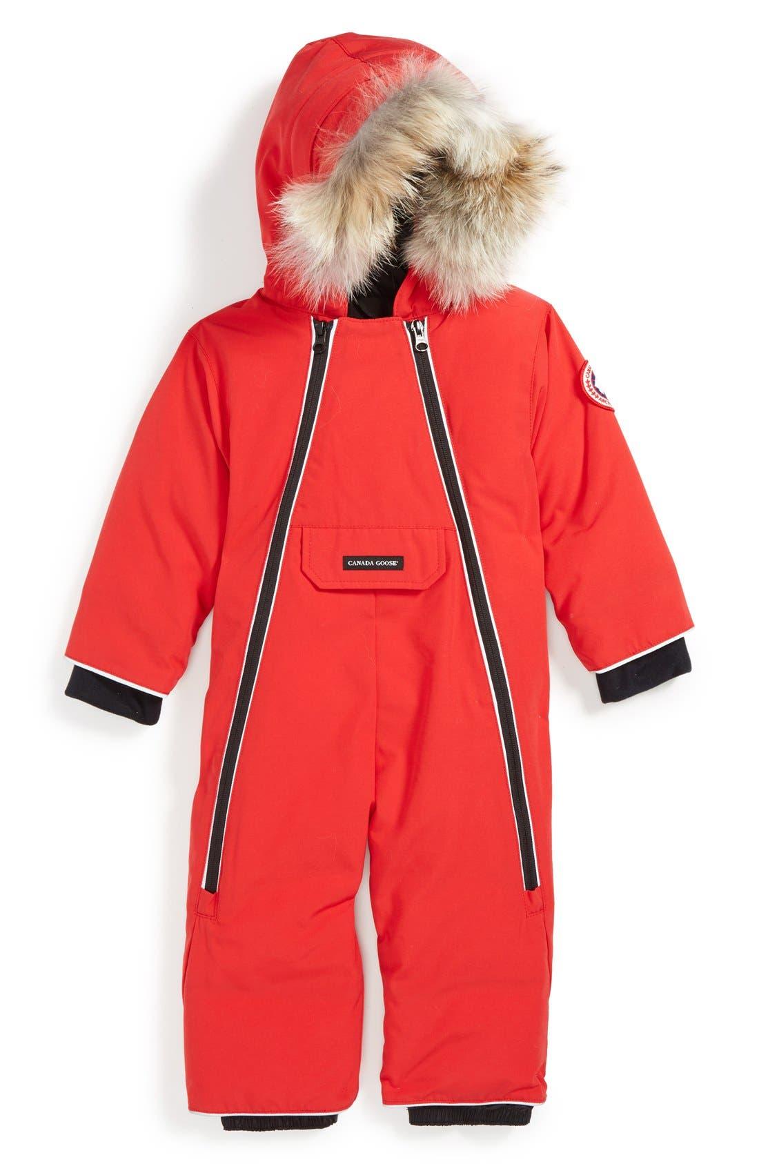 'Lamb' Down Snowsuit with Genuine Coyote Fur Trim,                             Main thumbnail 1, color,                             RED
