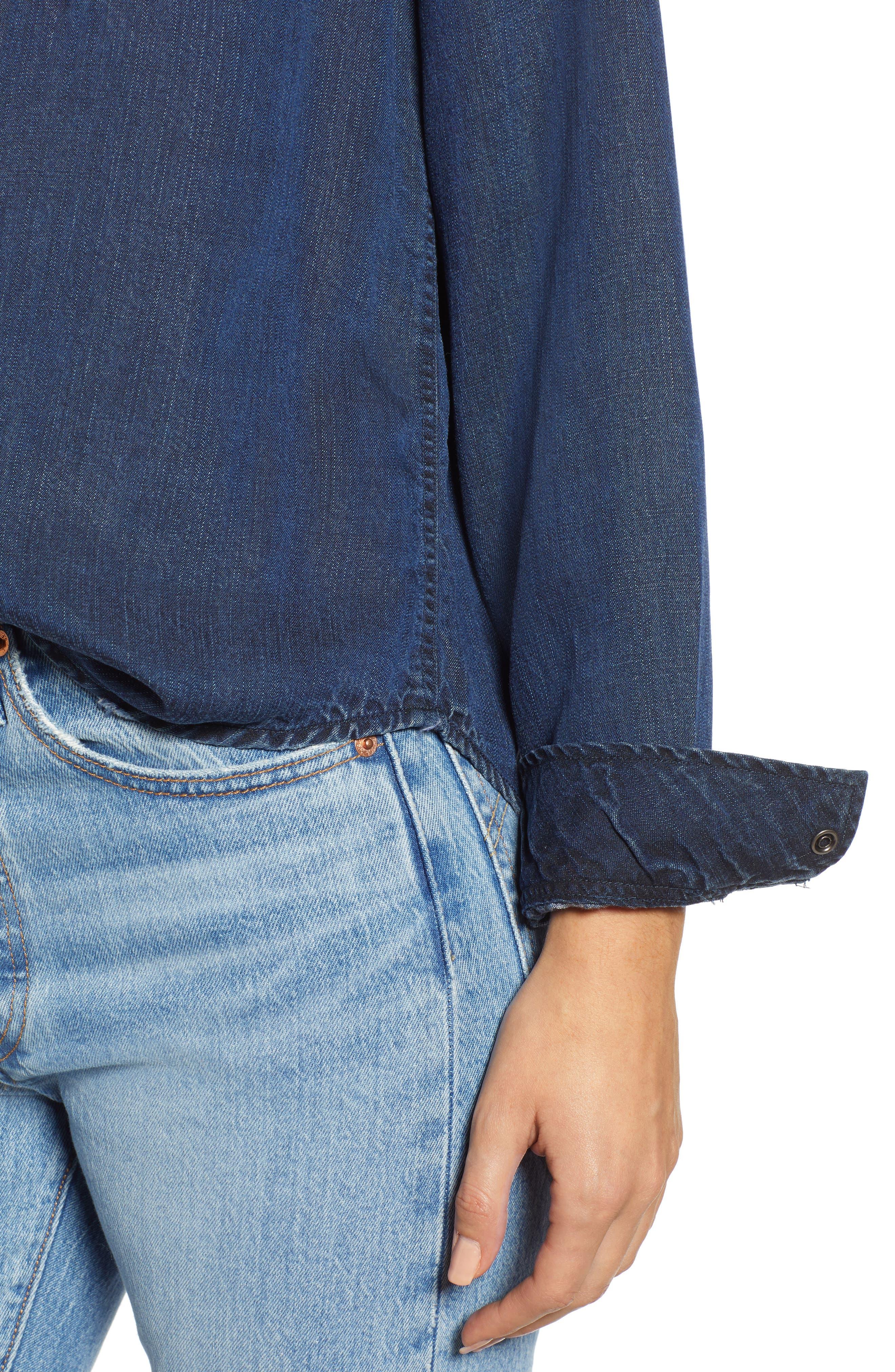 West Button Down Shirt,                             Alternate thumbnail 4, color,                             DARK VINTAGE LAPIS COAST WHITE