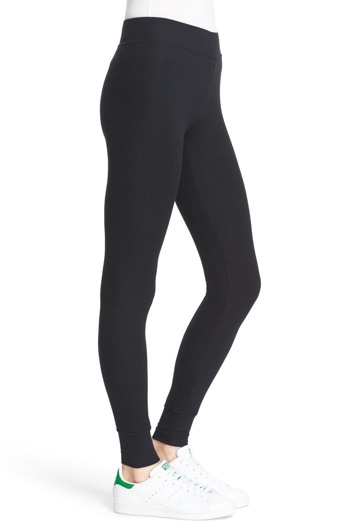 Rib Knit Yoga Leggings,                             Alternate thumbnail 3, color,                             BLACK
