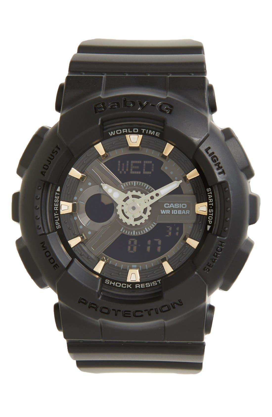 Baby-G Ana-Digi Watch, 46mm x 43mm,                             Main thumbnail 1, color,                             BLACK