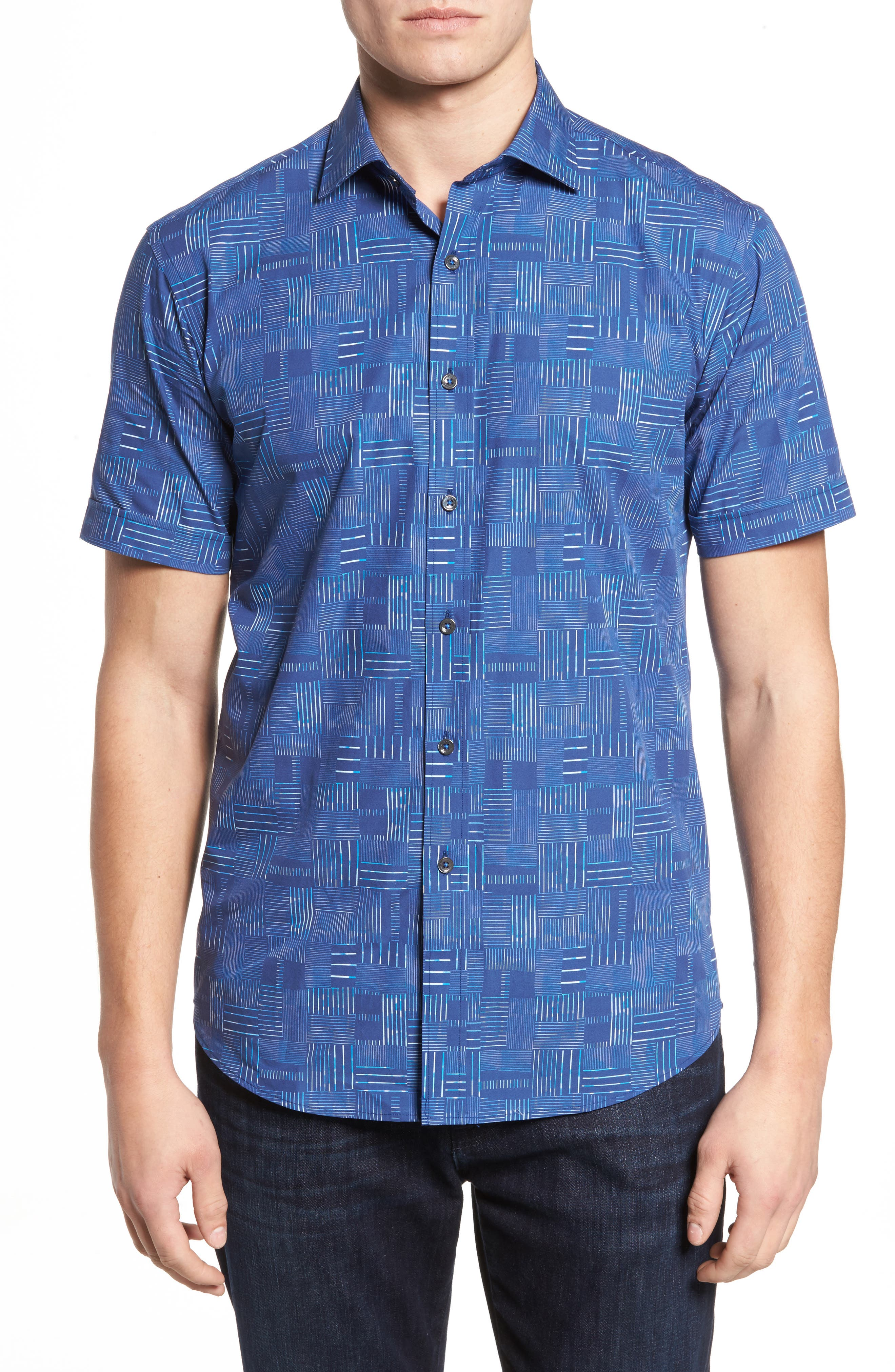 Shaped Fit Print Sport Shirt,                         Main,                         color, 422