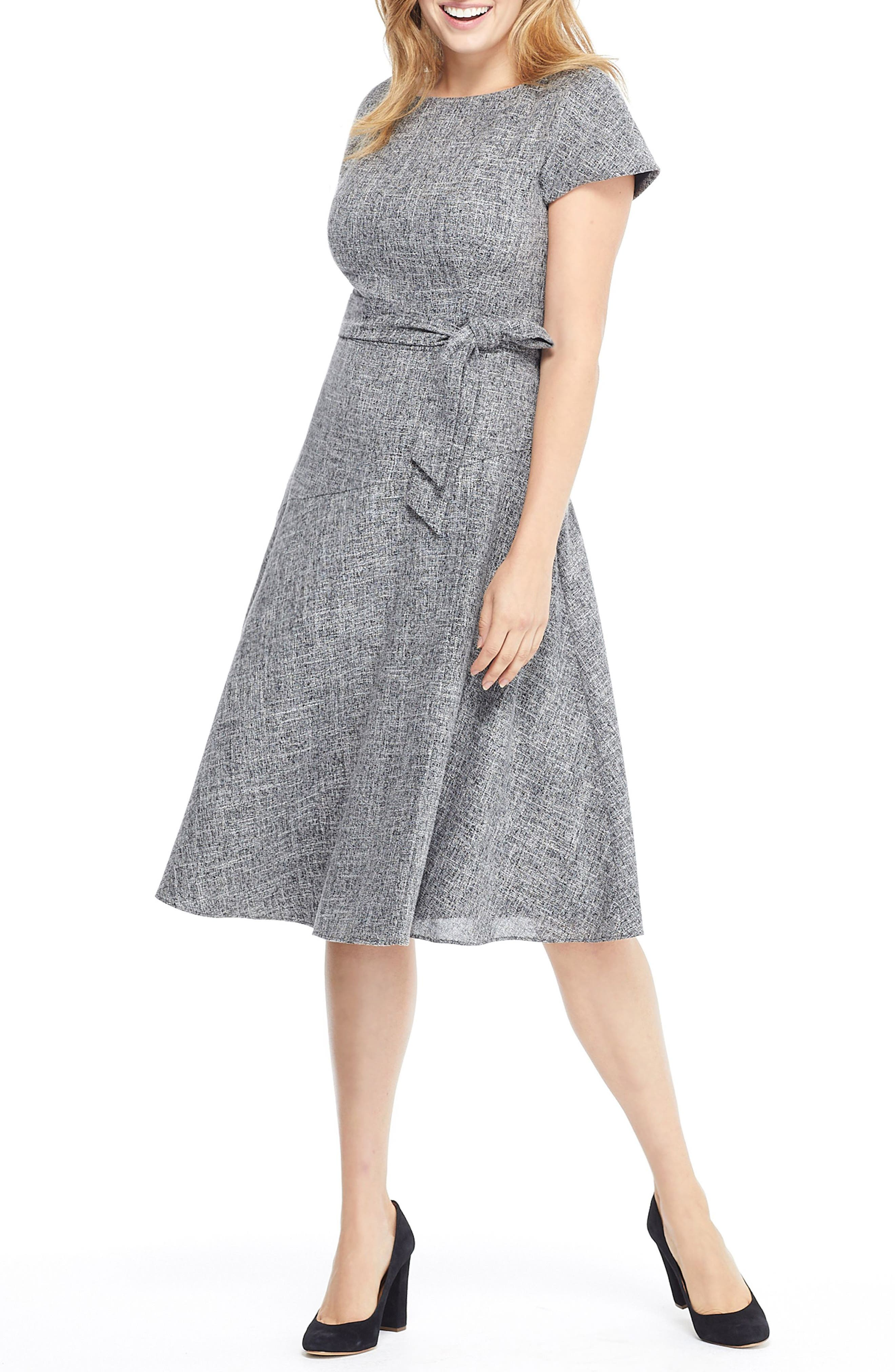 Gal Meets Glam Collection Barbara Yarn Dyed Boat Neck Dress, Grey