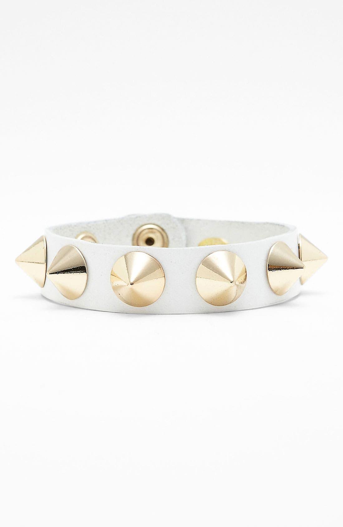 Studded Leather Bracelet,                             Main thumbnail 3, color,