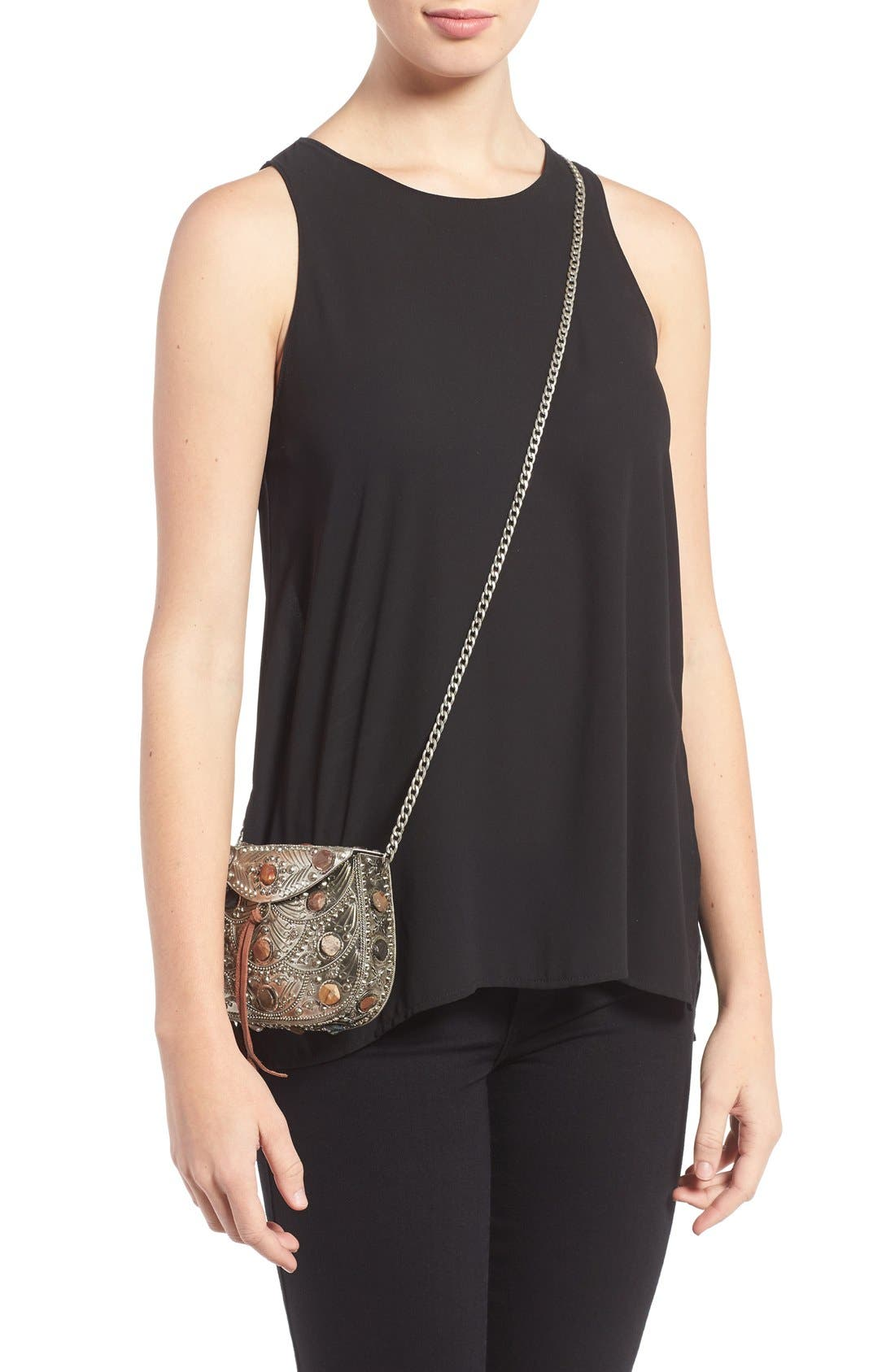 SAM EDELMAN,                             Mini Thana Metal Crossbody Bag,                             Alternate thumbnail 2, color,                             044