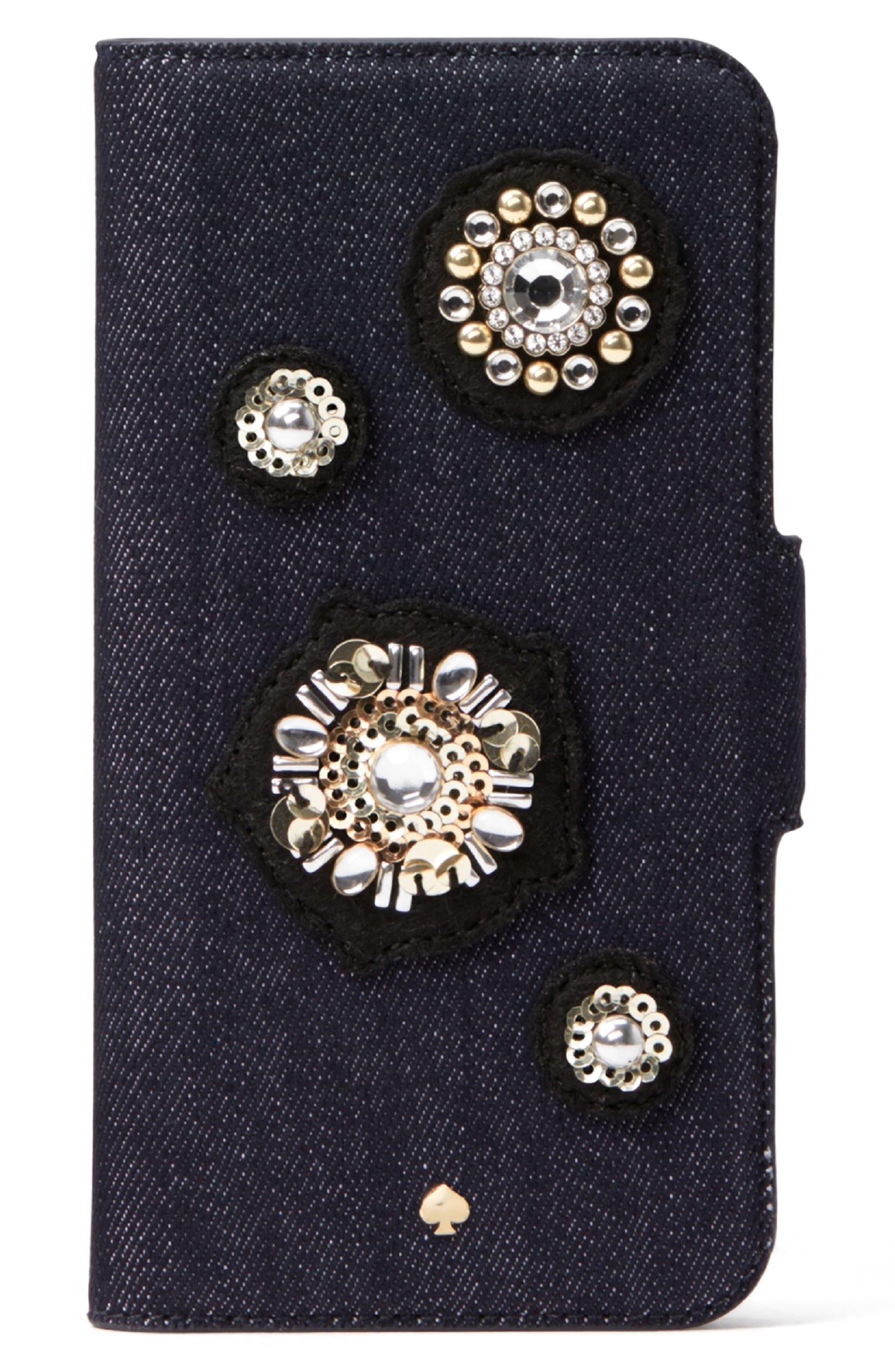 flower appliqué iPhone X & Xs folio case,                         Main,                         color, 400