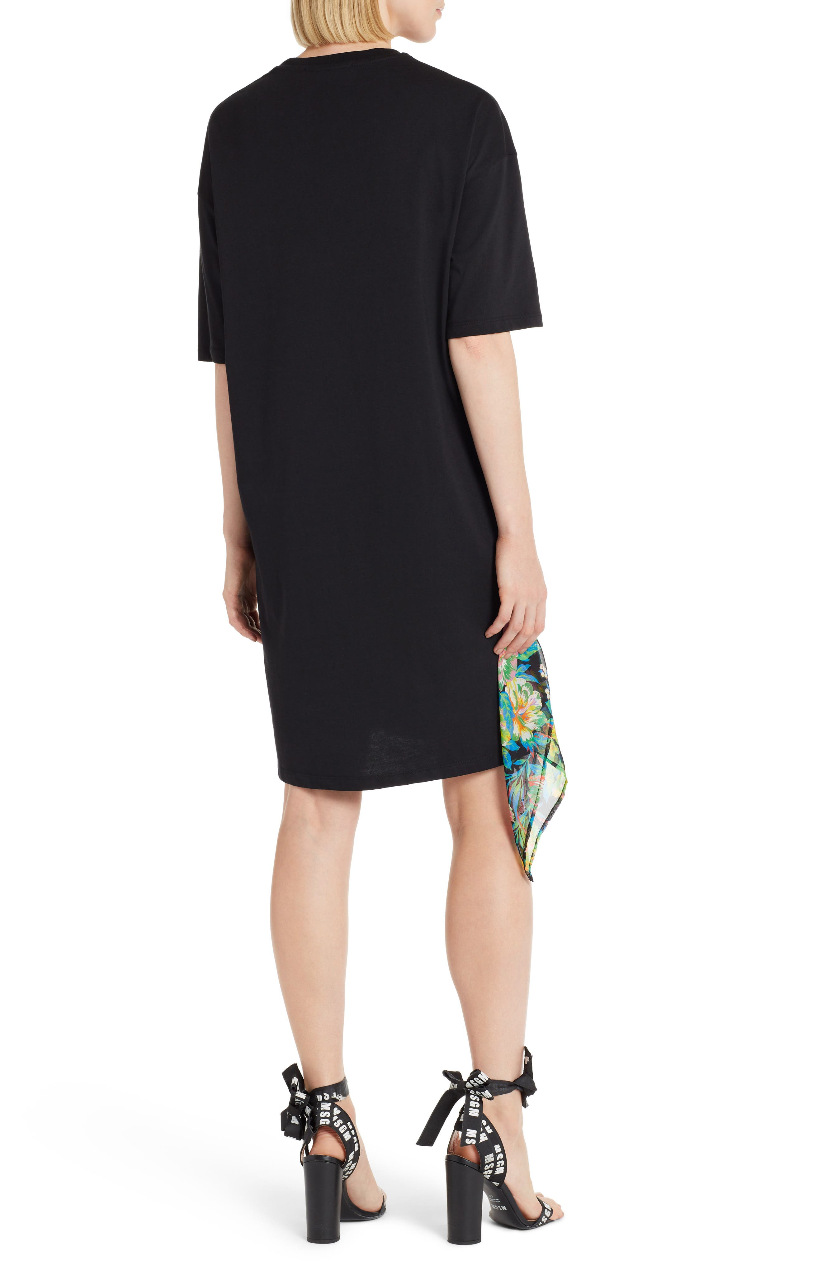 Chiffon Panel T-Shirt Dress,                             Alternate thumbnail 2, color,                             009