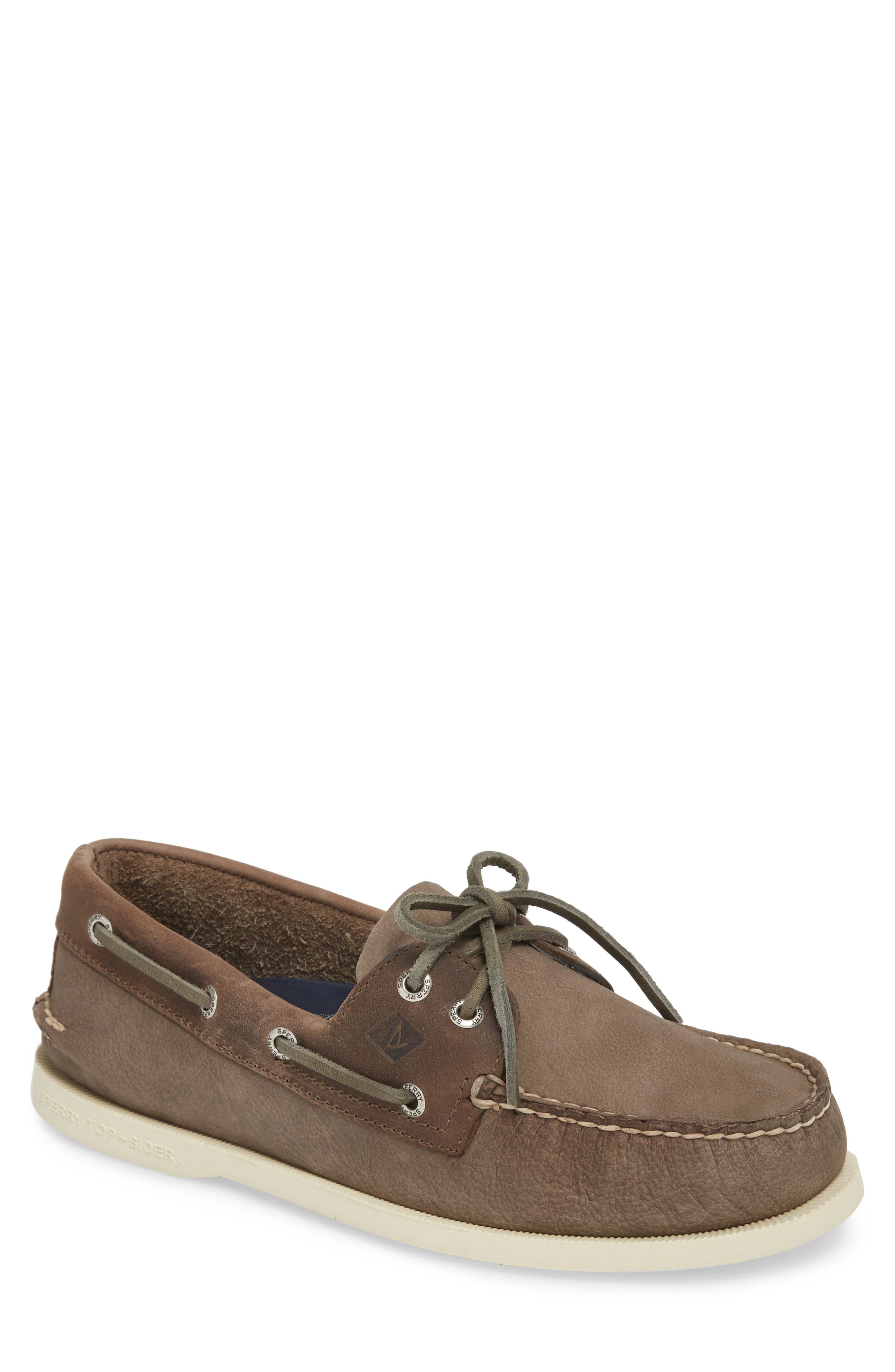 Authentic Original Two-Eye Boat Shoe,                             Main thumbnail 1, color,                             GREY/ CHARCOAL LEATHER