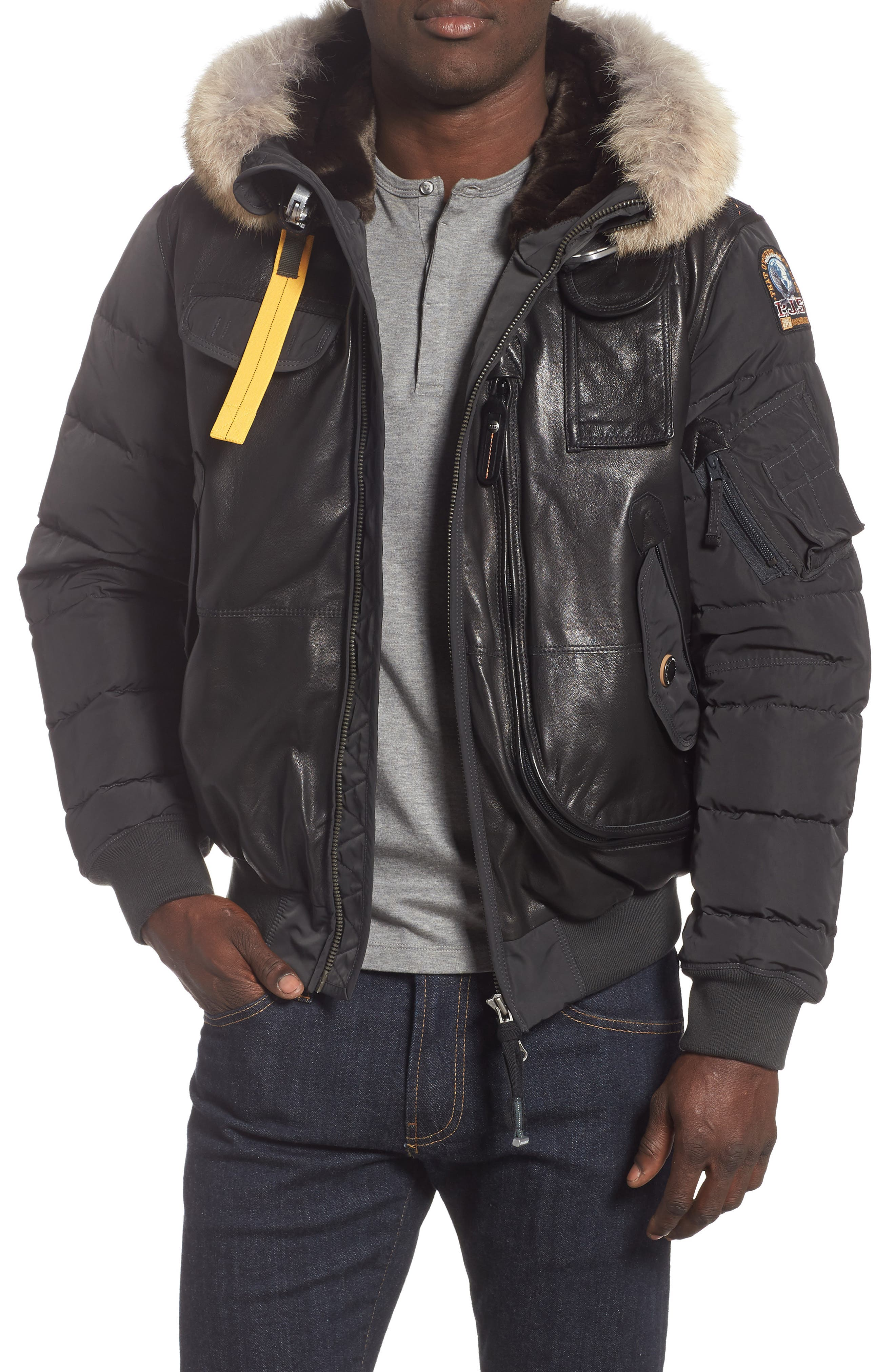 Grizzly Down Bomber Jacket with Genuine Coyote Fur Trim,                             Main thumbnail 1, color,                             ANTHRACITE