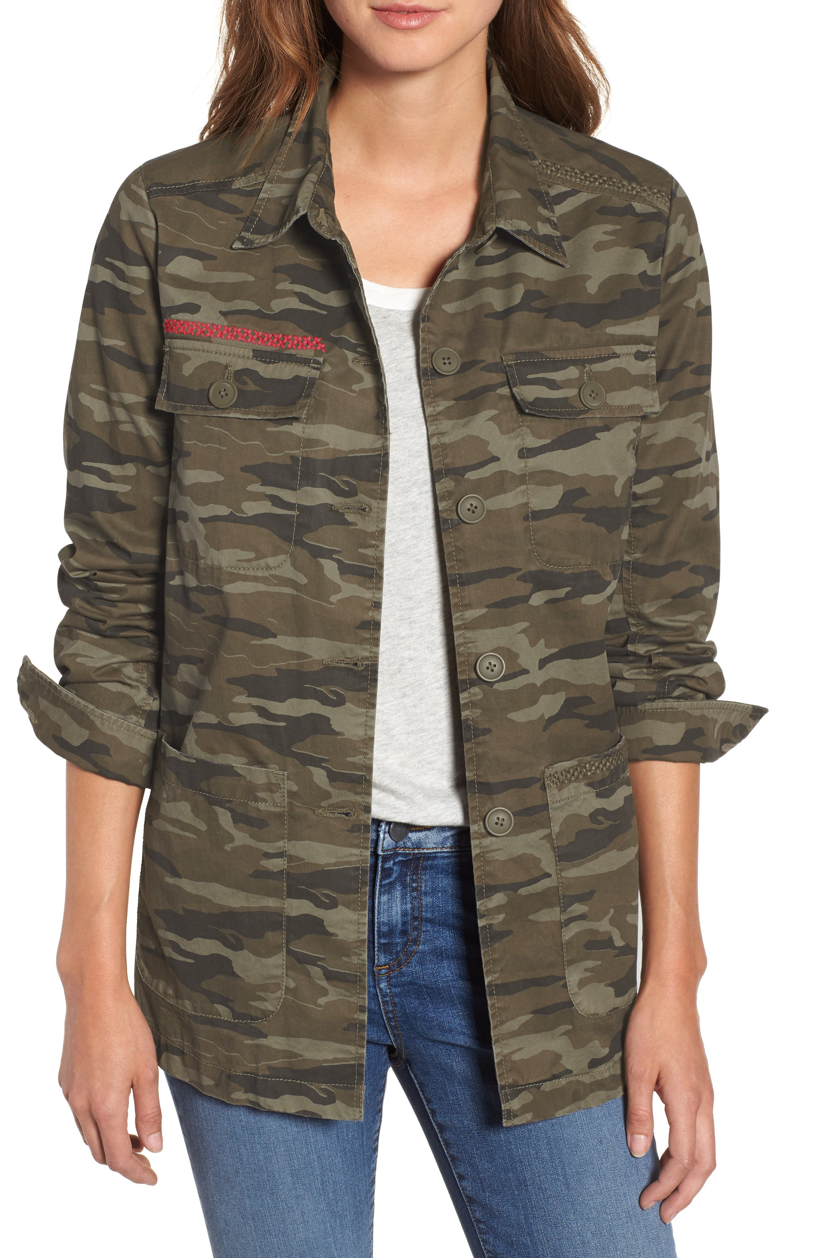 Utility Jacket,                         Main,                         color, OLIVE CAMO PRINT