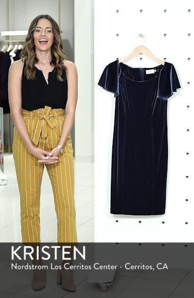 Scoop Neck Flutter Sleeve Velvet Sheath Dress, sales video thumbnail