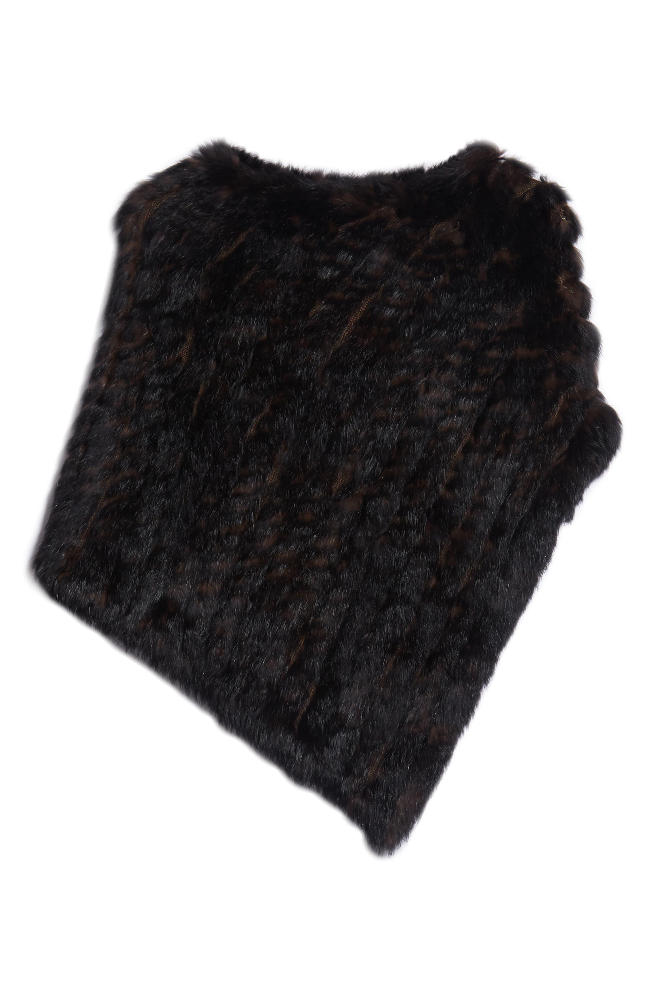 Genuine Rabbit Fur Poncho,                             Alternate thumbnail 6, color,                             BROWN
