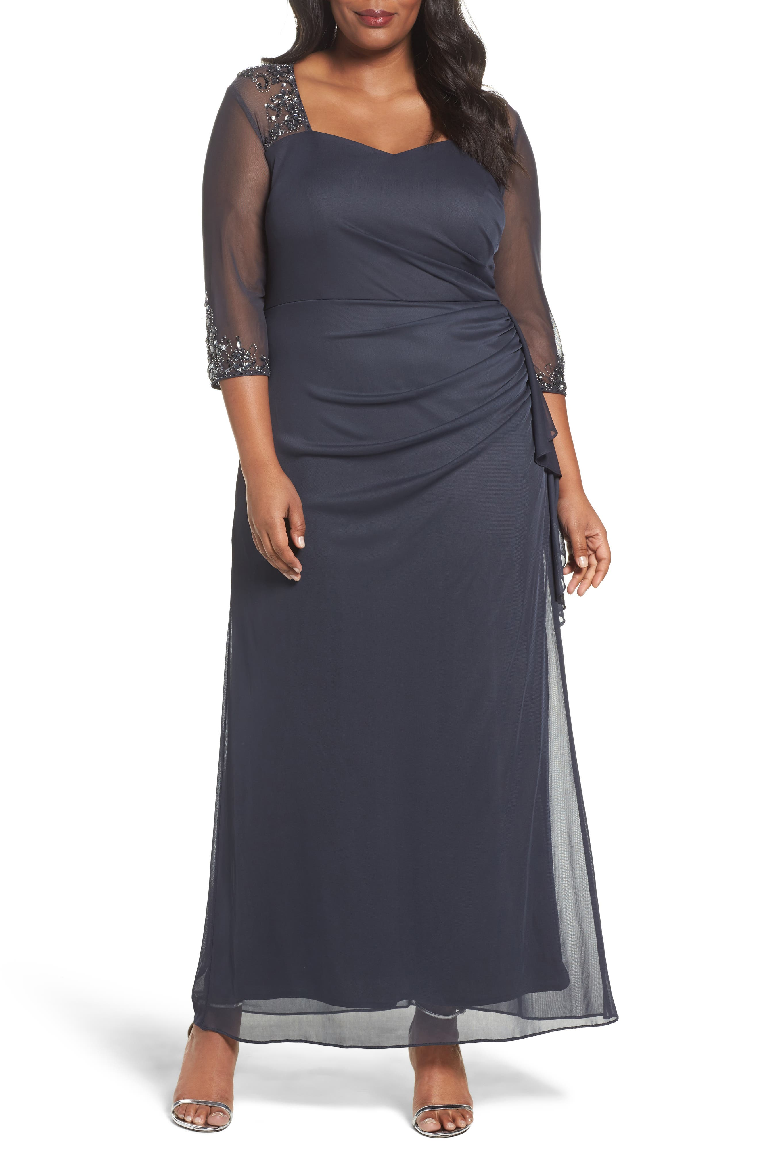 ALEX EVENINGS Embellished Side Pleat Sweetheart Gown, Main, color, CHARCOAL