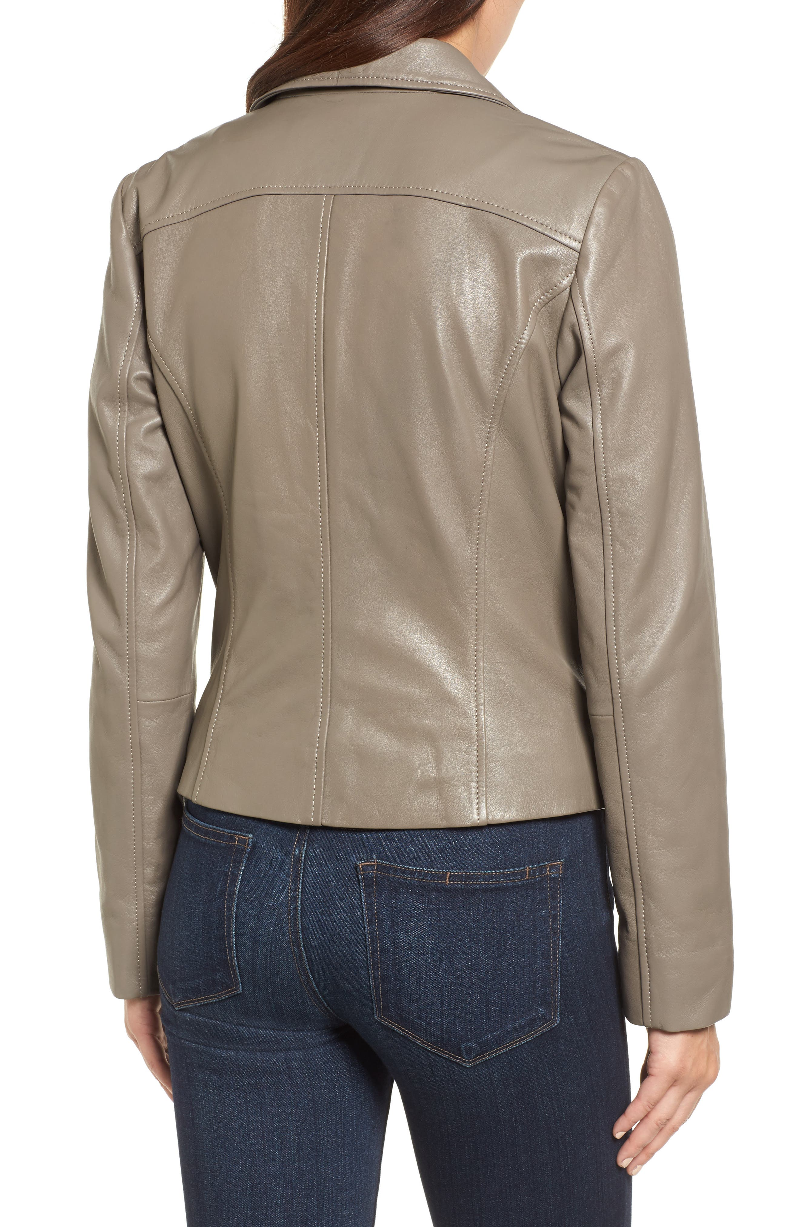 Leather Moto Jacket,                             Alternate thumbnail 2, color,                             020
