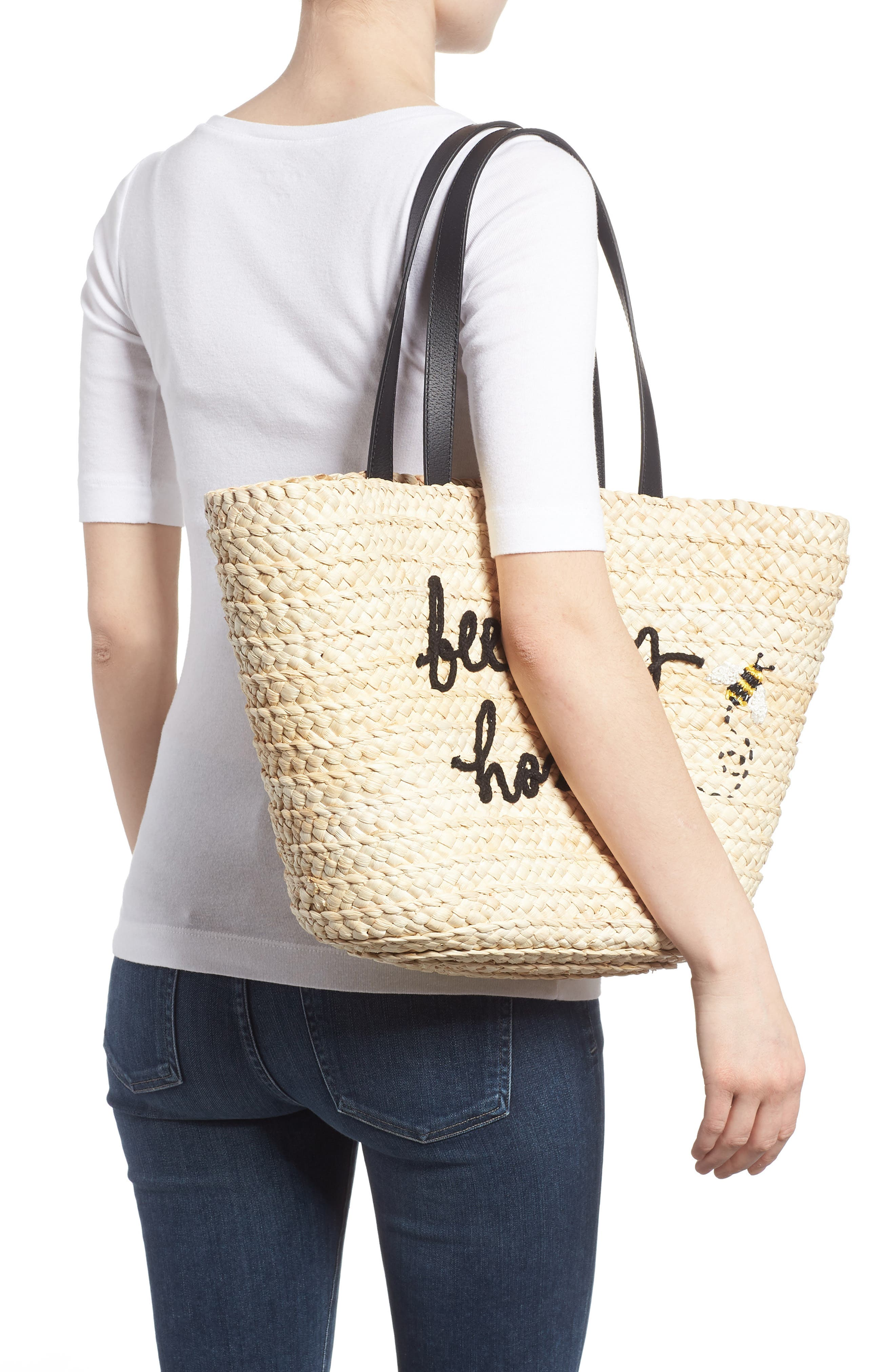 picnic perfect bee my honey straw tote,                             Alternate thumbnail 2, color,                             900