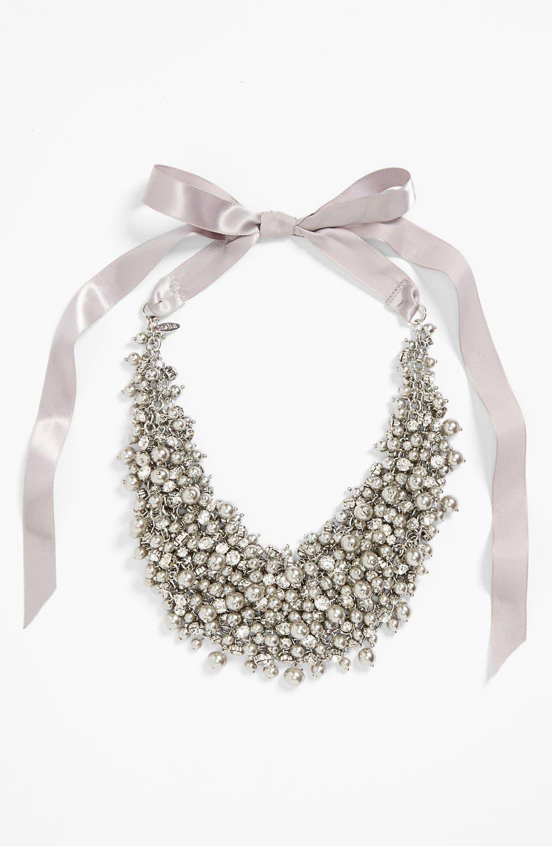 'Pretty Pearl' Ribbon Collar Necklace, Main, color, 020