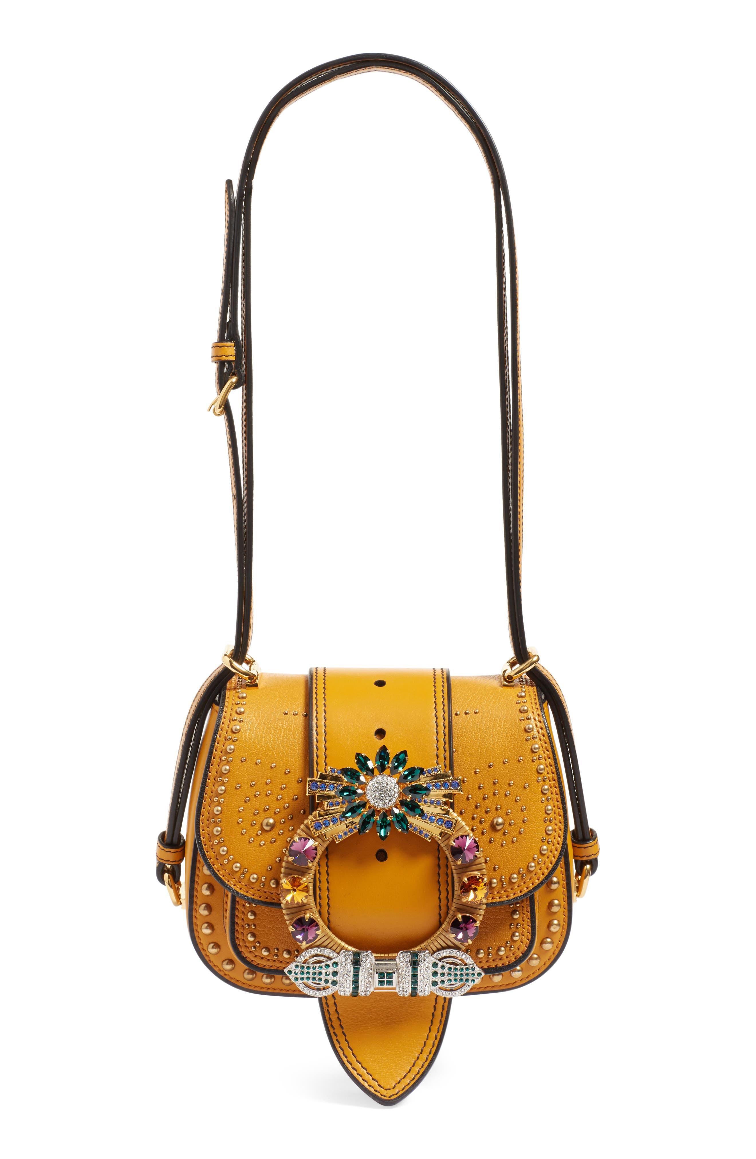 MIU MIU,                             'Dahlia' Goatskin Leather Saddle Bag,                             Alternate thumbnail 6, color,                             814