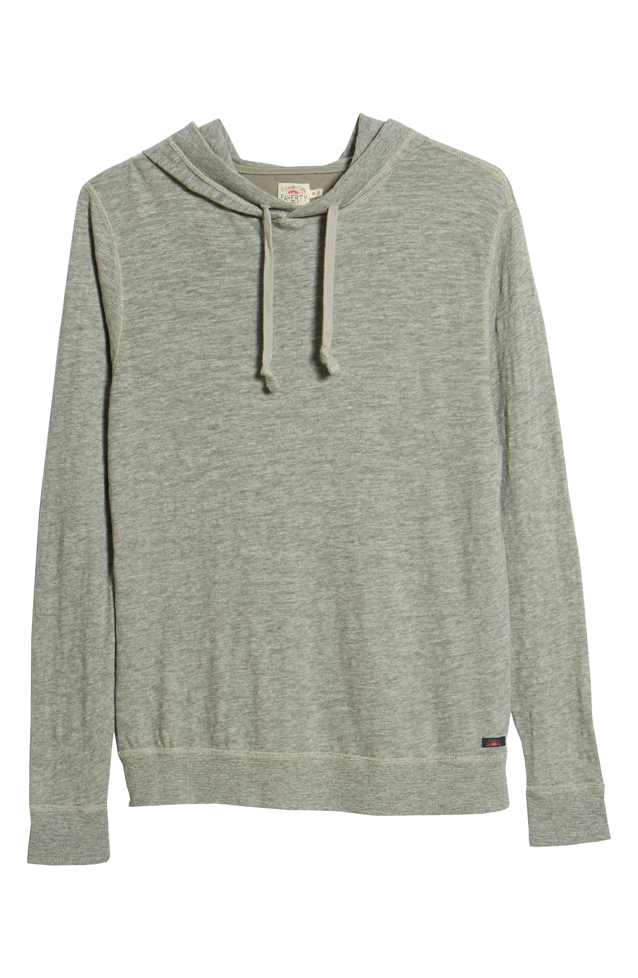 Slub Cotton Hoodie,                             Alternate thumbnail 6, color,                             HEATHER GREY