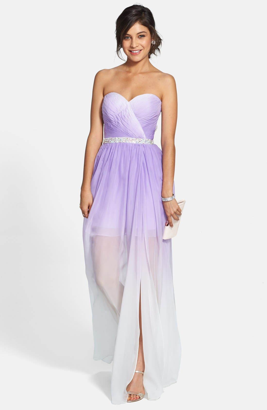 Ombré Chiffon Gown,                             Main thumbnail 1, color,                             530