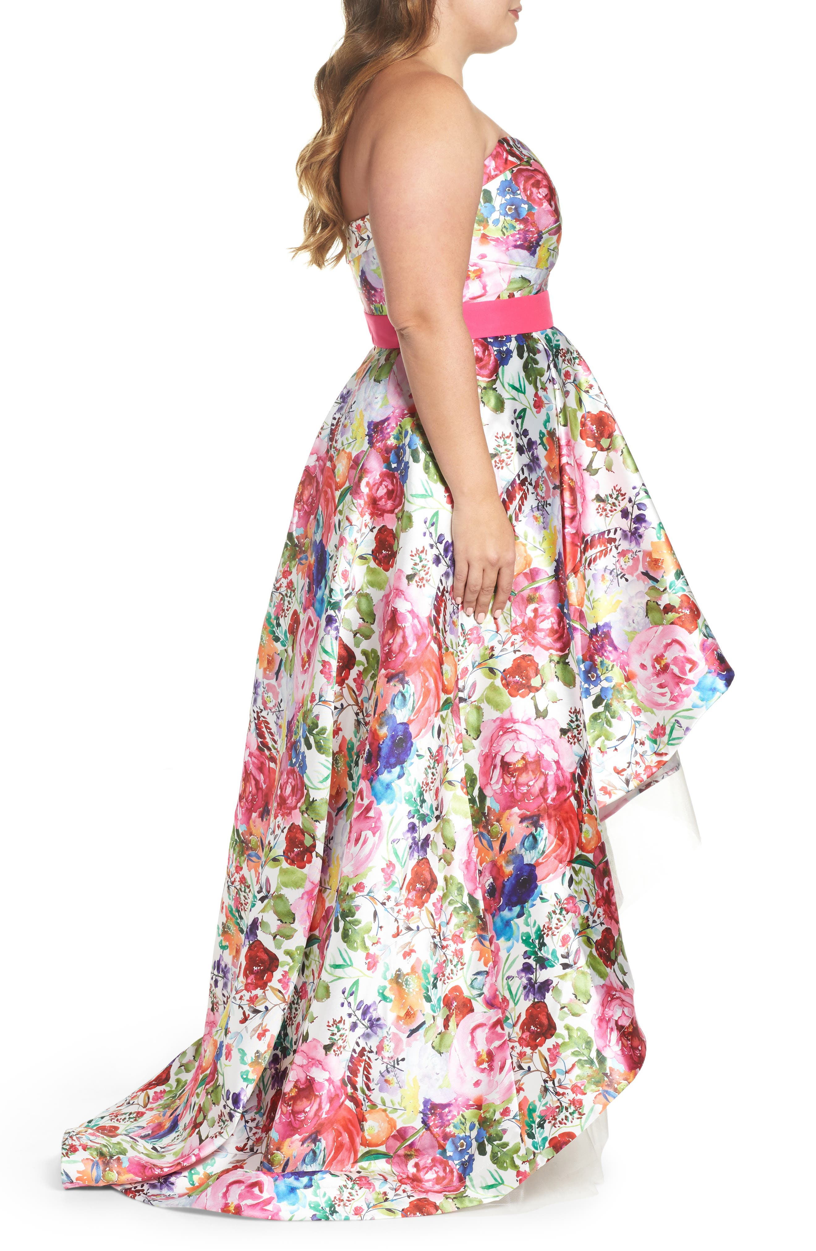 Floral Strapless Sweetheart High/Low Gown,                             Alternate thumbnail 3, color,                             900