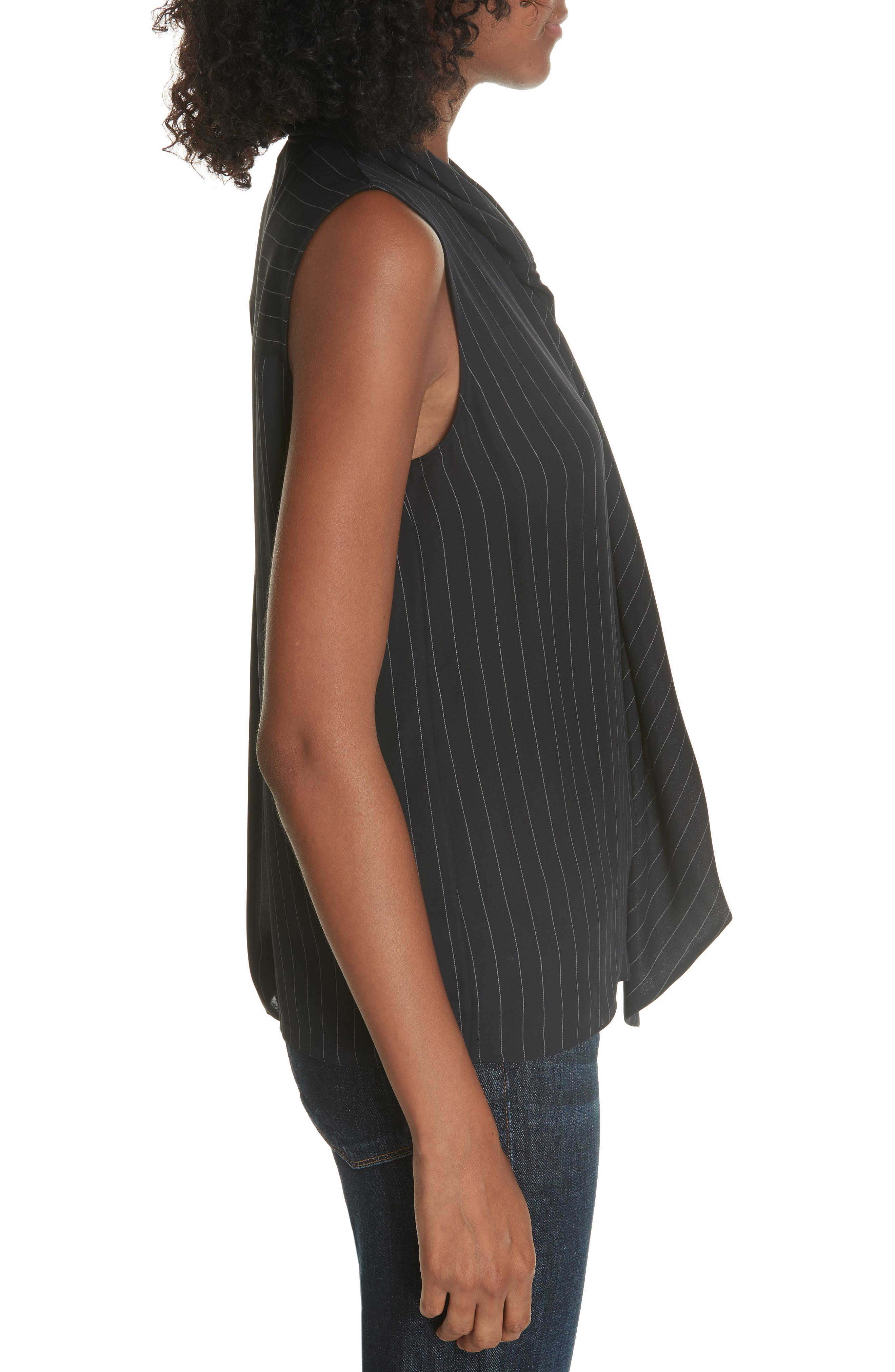 Draped Front Silk Shell,                             Alternate thumbnail 3, color,                             DEEP NAVY/ GREY