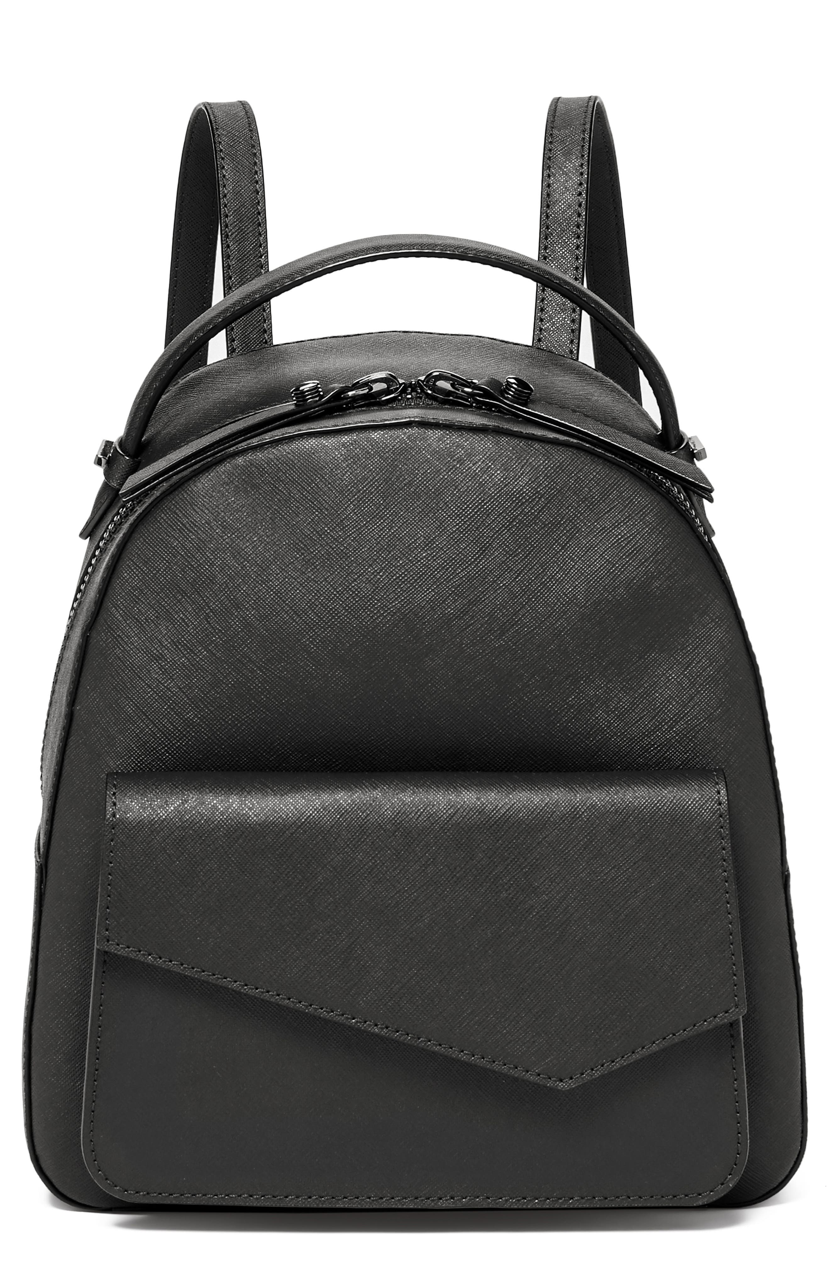 Cobble Hill Calfskin Leather Backpack,                             Main thumbnail 1, color,                             BLACK