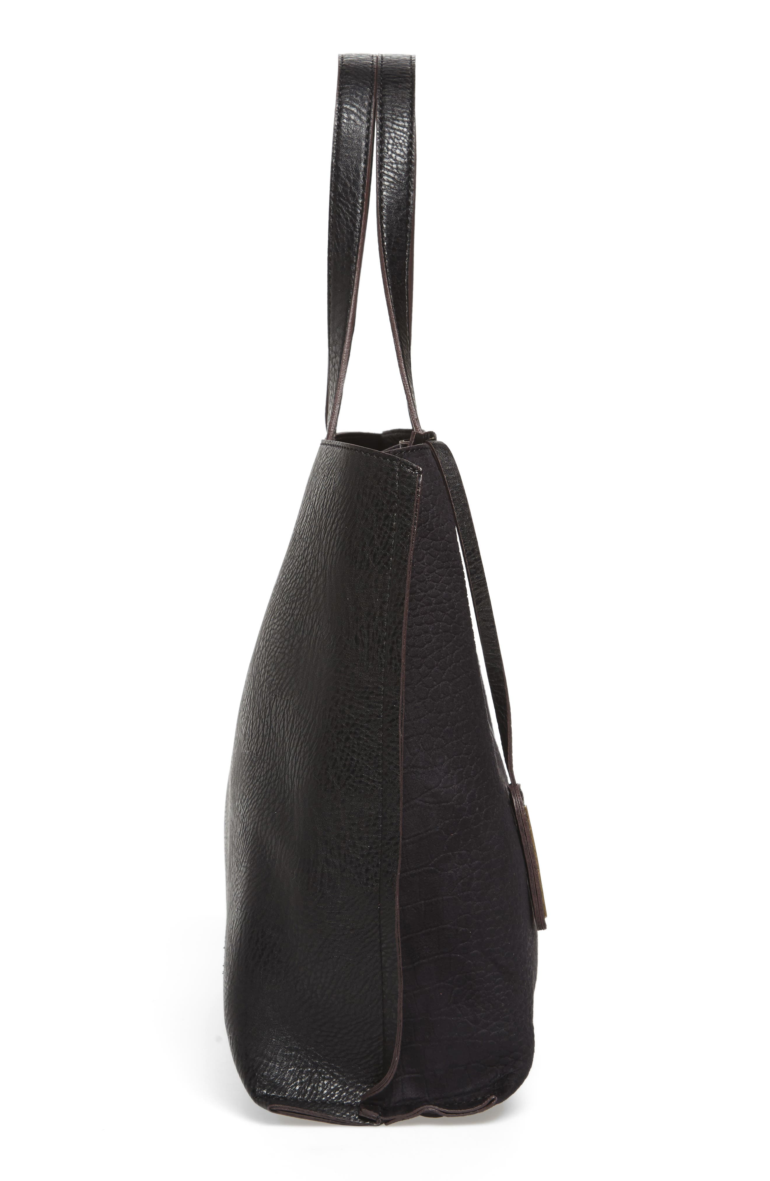 Reversible Textured Faux Leather Tote,                             Alternate thumbnail 6, color,                             001