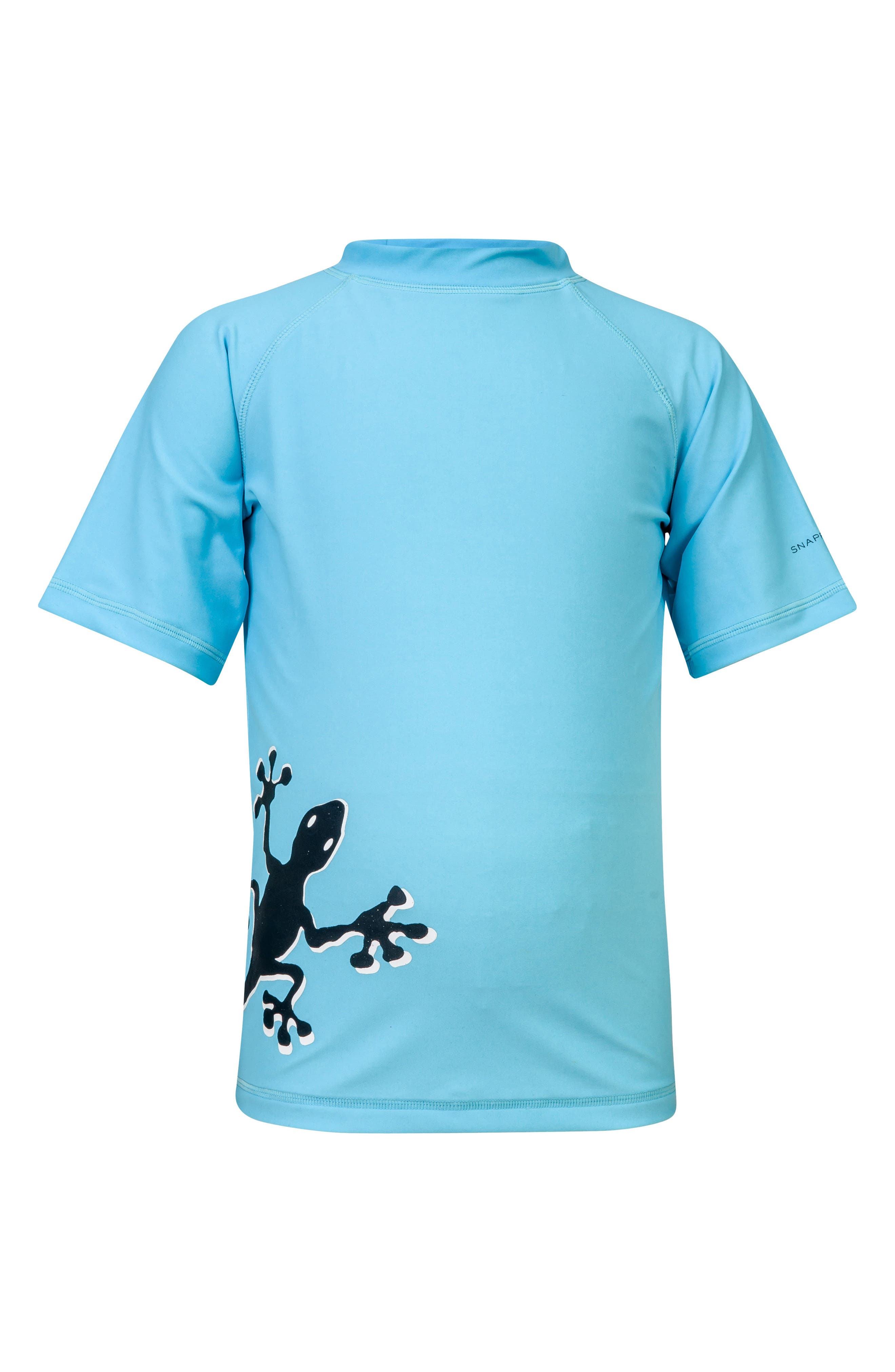 Gecko Short Sleeve Rashguard,                             Main thumbnail 1, color,                             AQUA BLUE