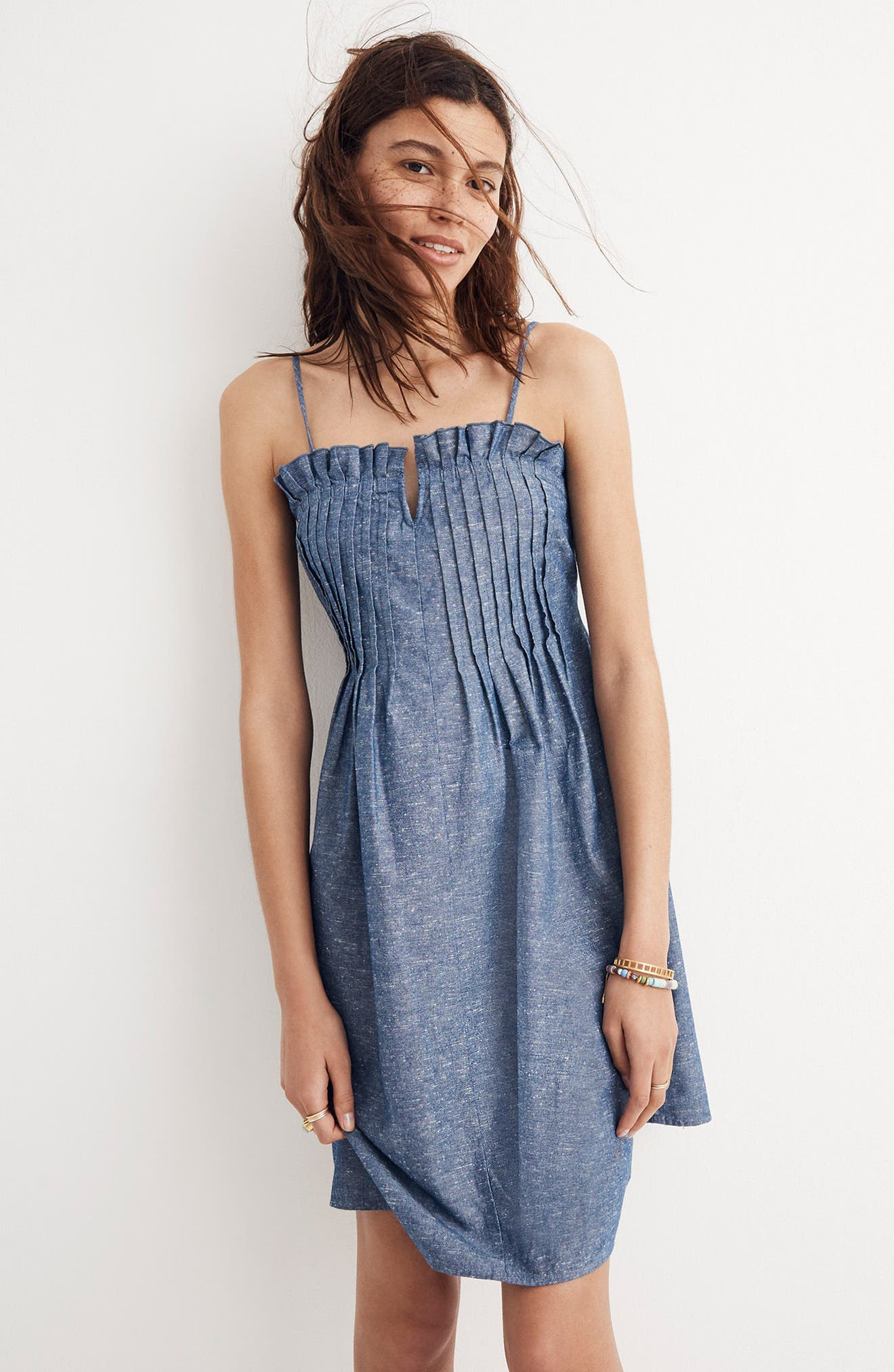 Pintuck Denim Camisole Dress,                             Alternate thumbnail 4, color,