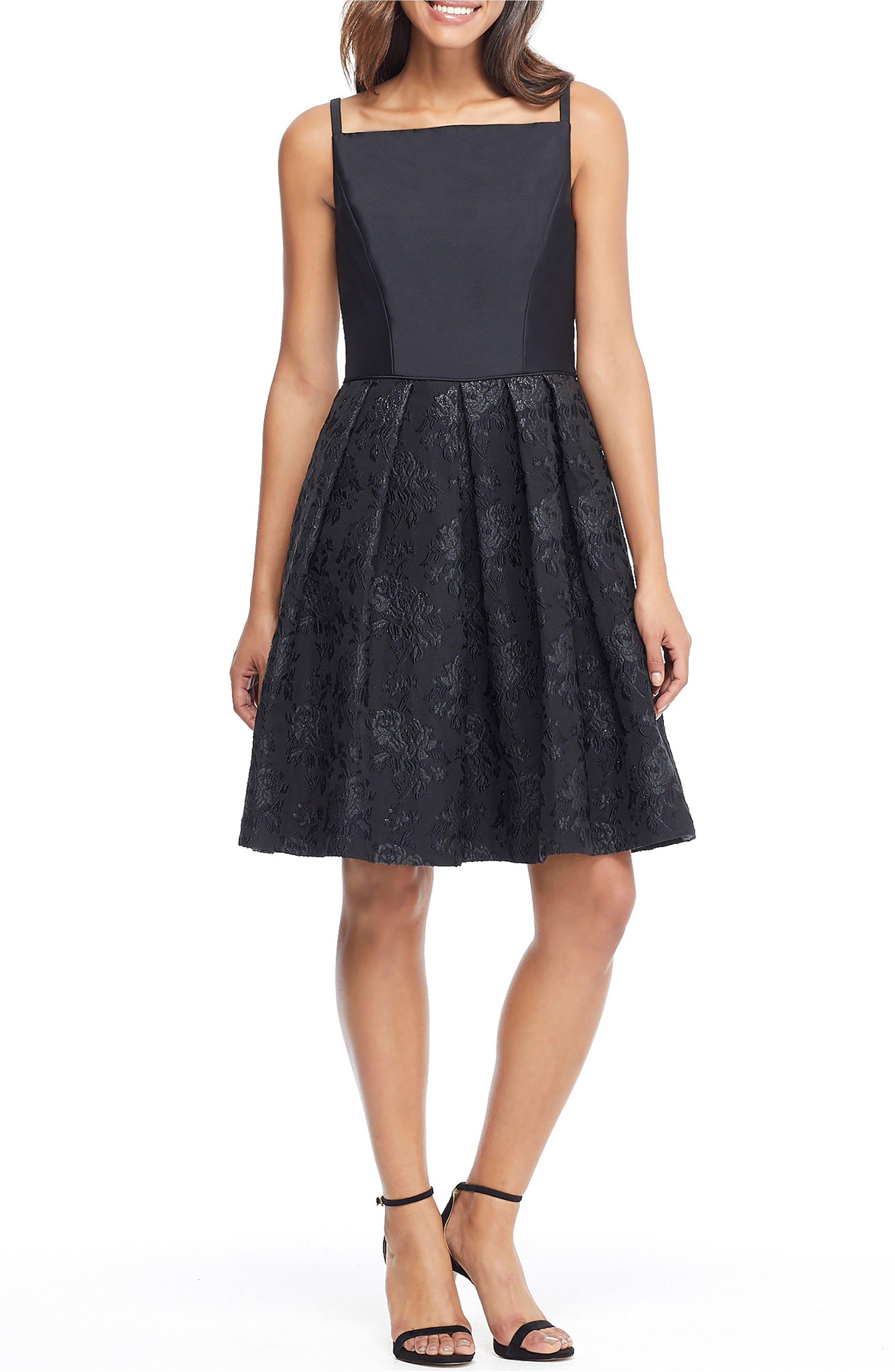 Gal Meets Glam Collection Midnight Floral Jacquard Dress, Black