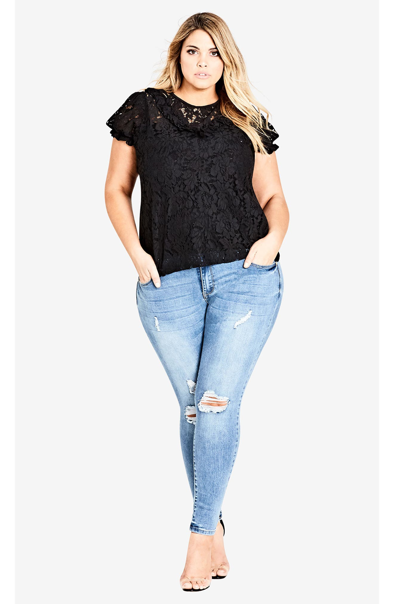 Lace Ruffle Top,                             Alternate thumbnail 4, color,                             BLACK