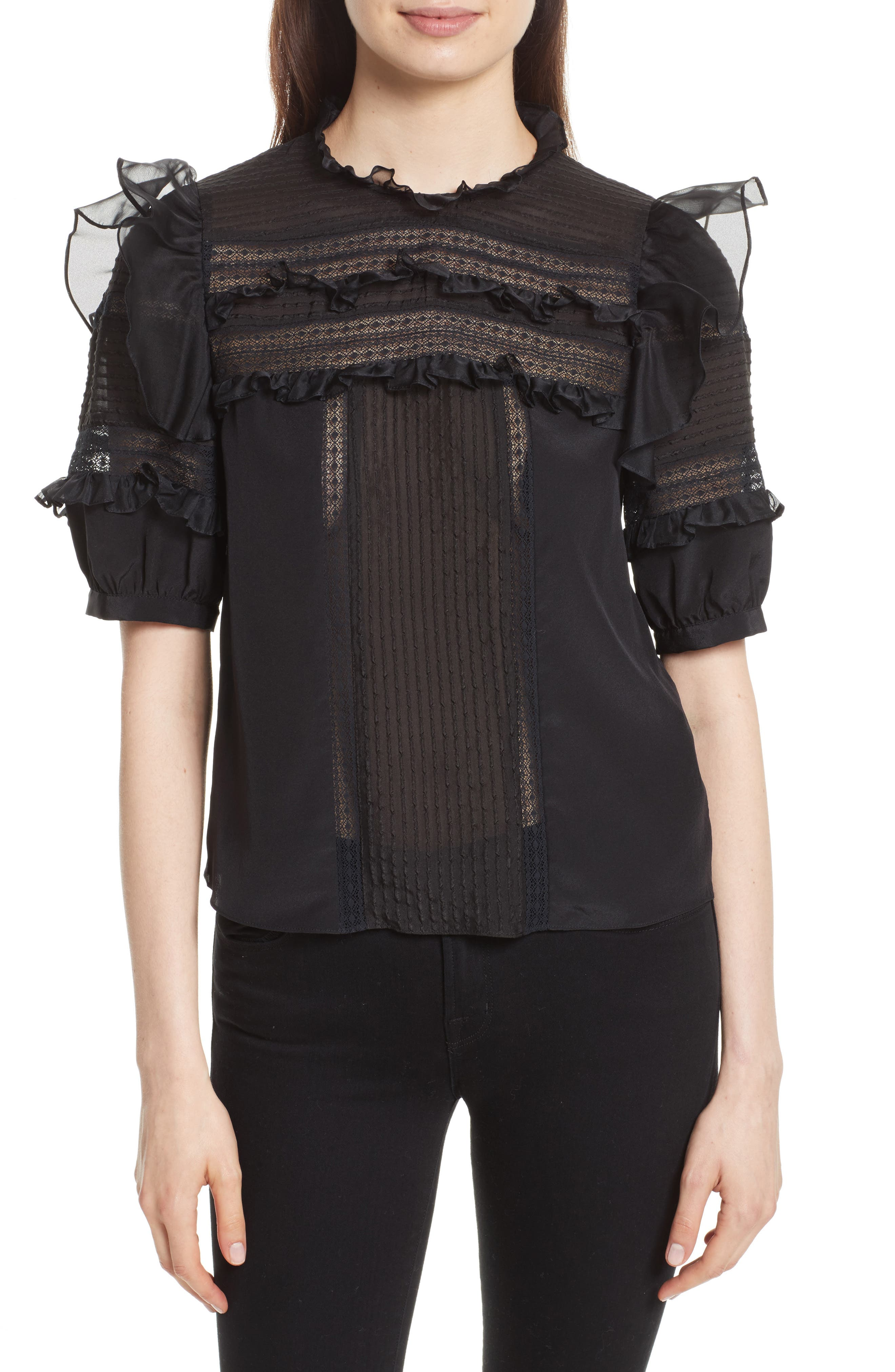Lace Trim Silk Blouse,                         Main,                         color, 001