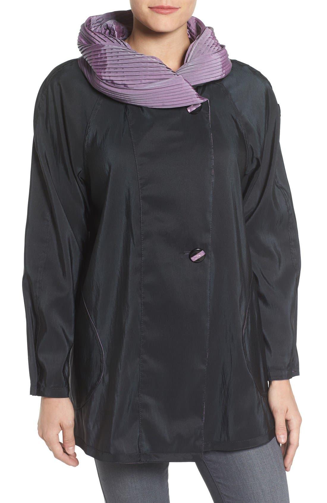 'Mini Donatella' Reversible Pleat Hood Packable Travel Coat,                             Alternate thumbnail 55, color,