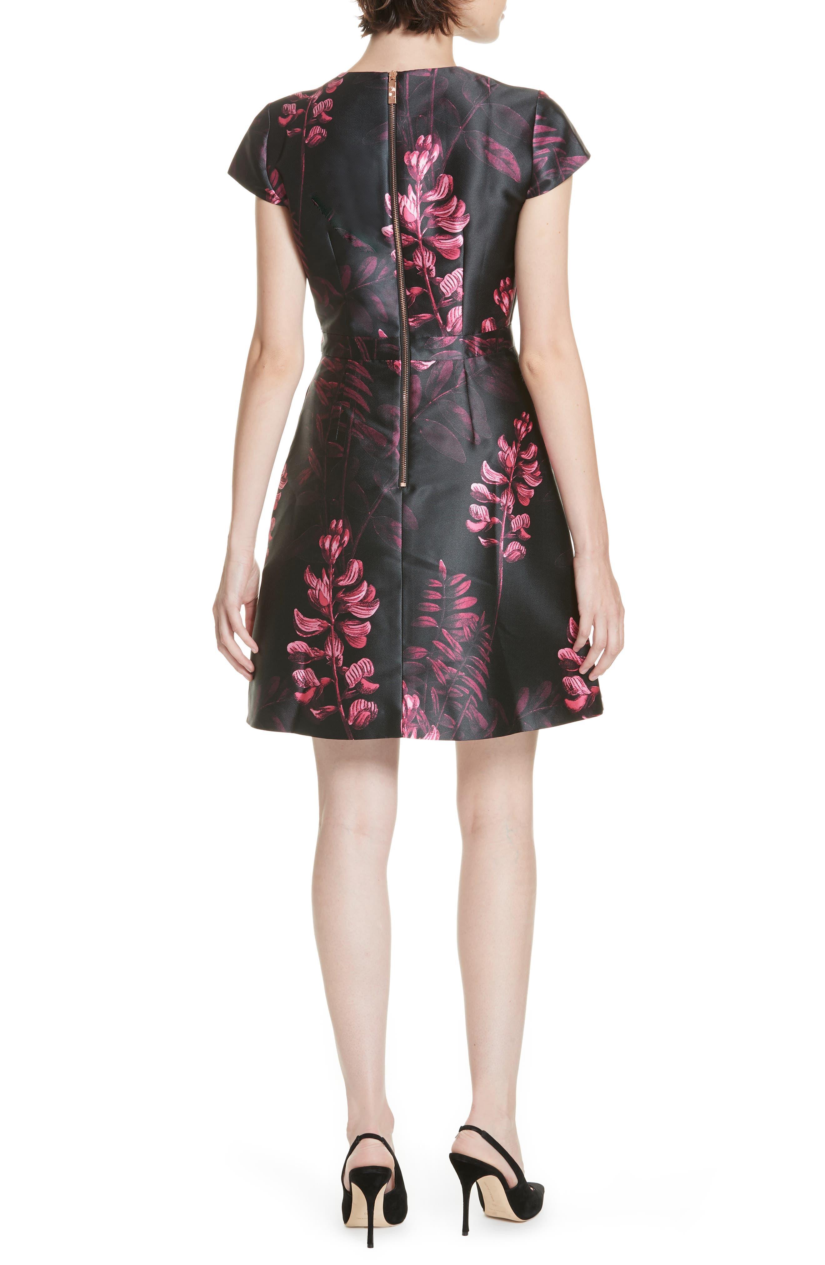 Jebby Splendor Jacquard Fit & Flare Dress,                             Alternate thumbnail 2, color,                             001