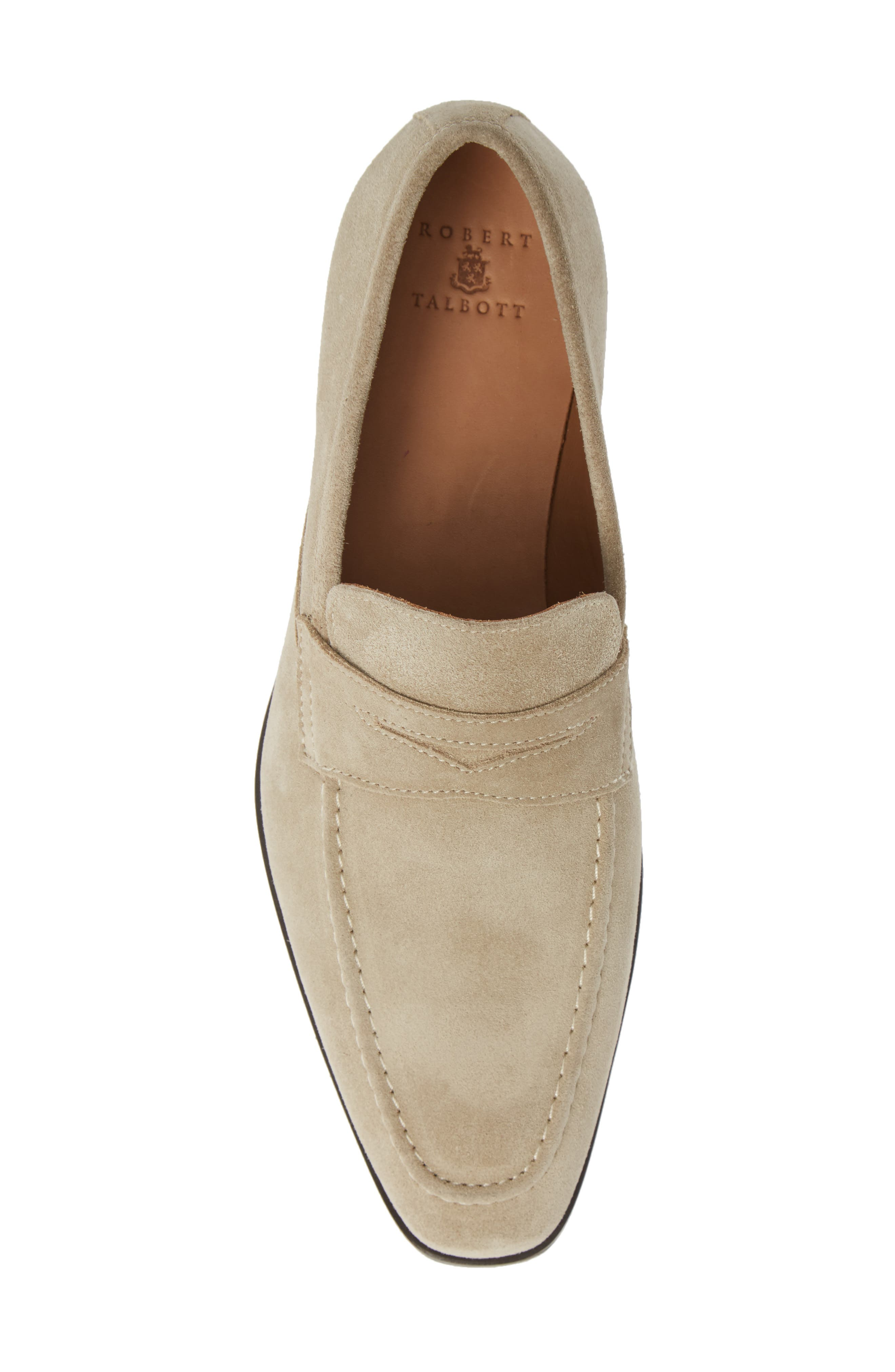 Nicasio Apron Toe Penny Loafer,                             Alternate thumbnail 5, color,                             SAND SUEDE