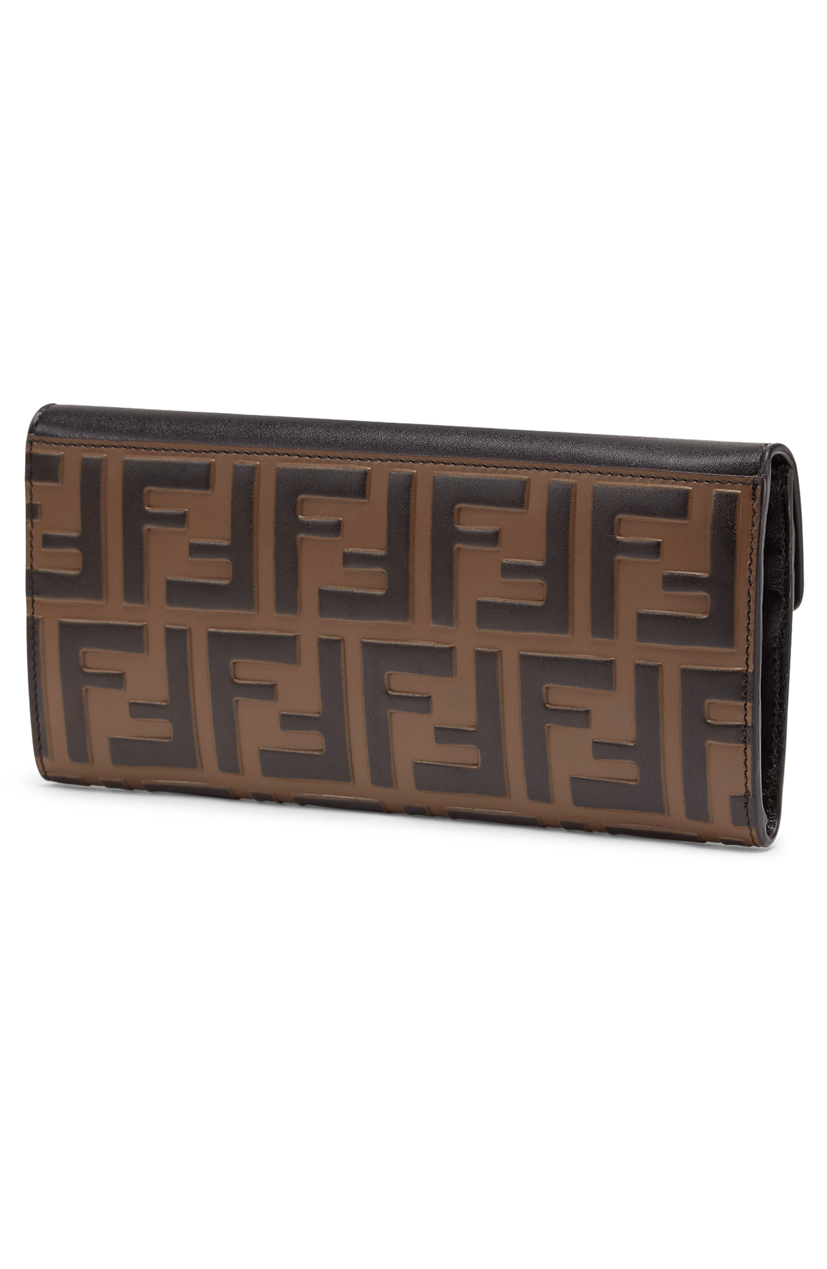 FENDI,                             Logo Calfskin Leather Continental Wallet,                             Alternate thumbnail 3, color,                             NERO/ MAYA