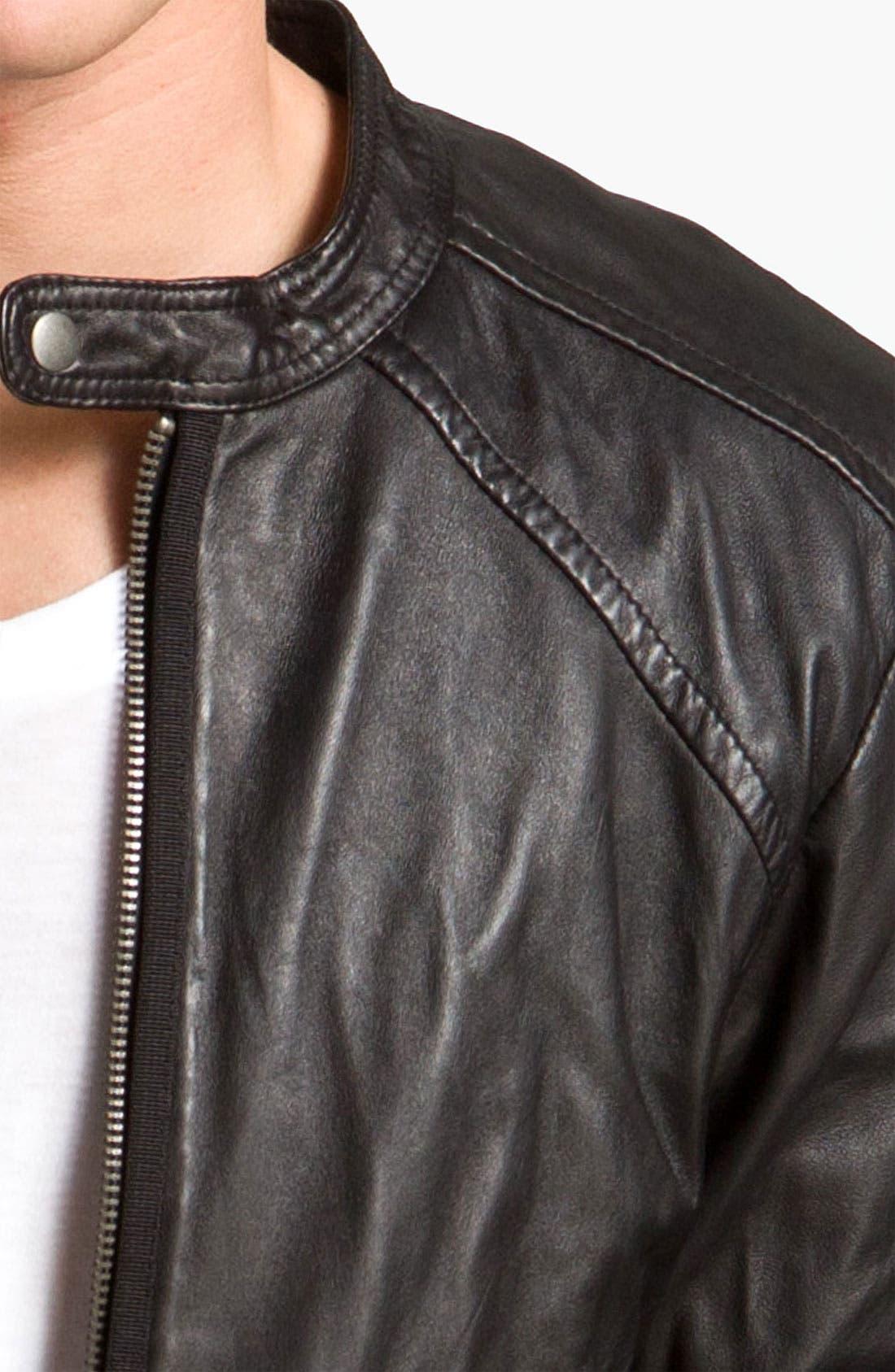 DIESEL<SUP>®</SUP>,                             'Leide' Extra Trim Fit Crinkled Leather Jacket,                             Alternate thumbnail 3, color,                             001