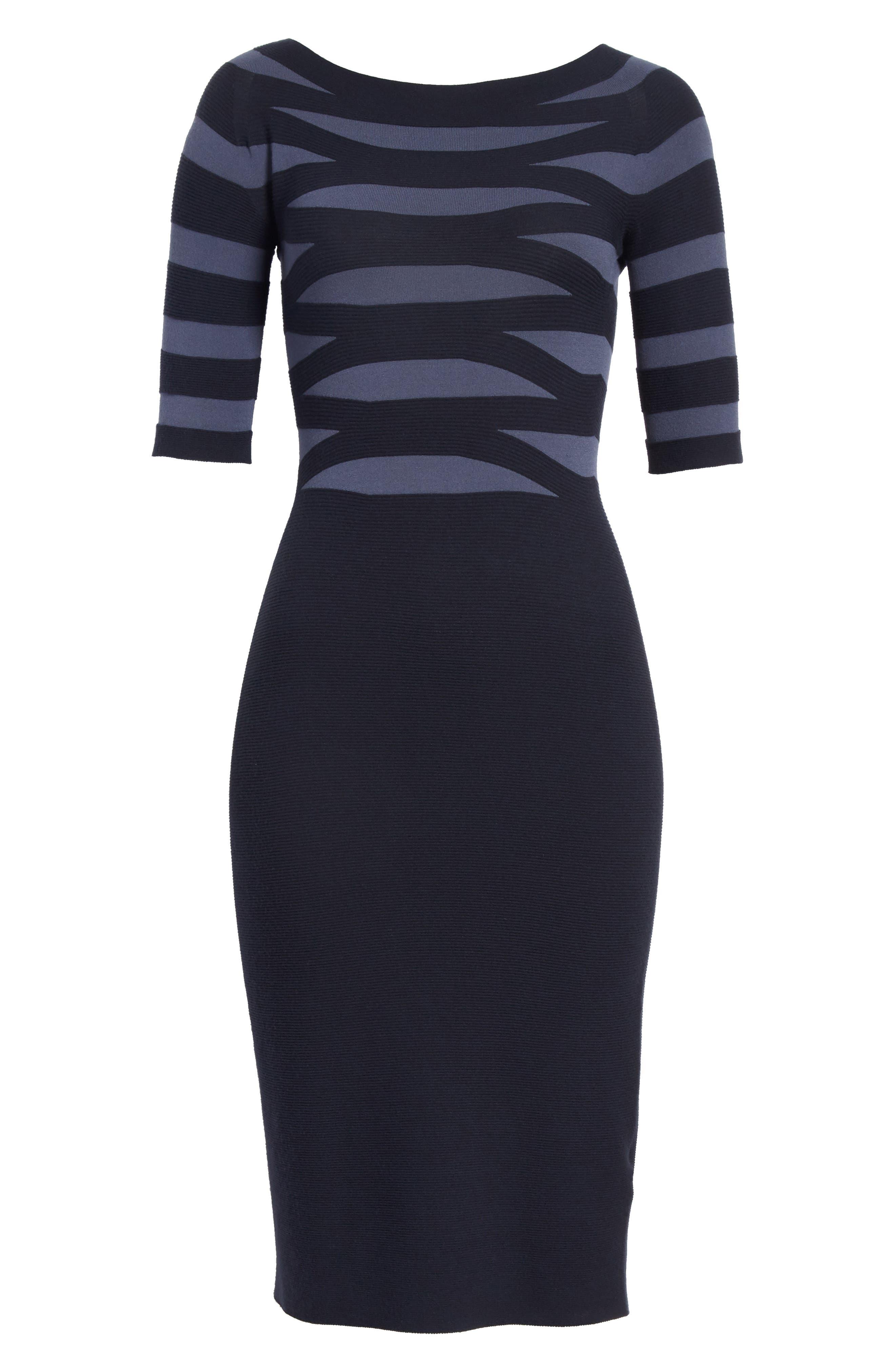 Graphic Stripe Knit Dress,                             Alternate thumbnail 6, color,