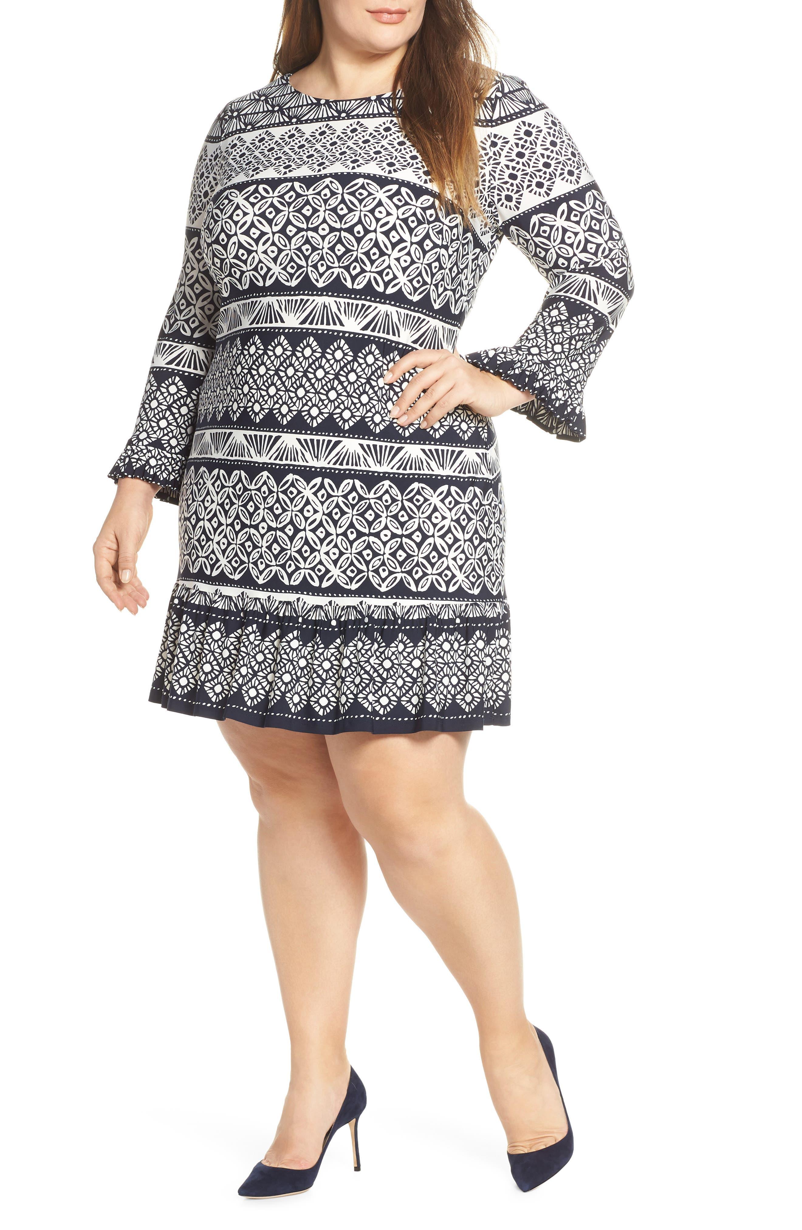 Plus Size Eliza J Flounce Shift Dress, Blue