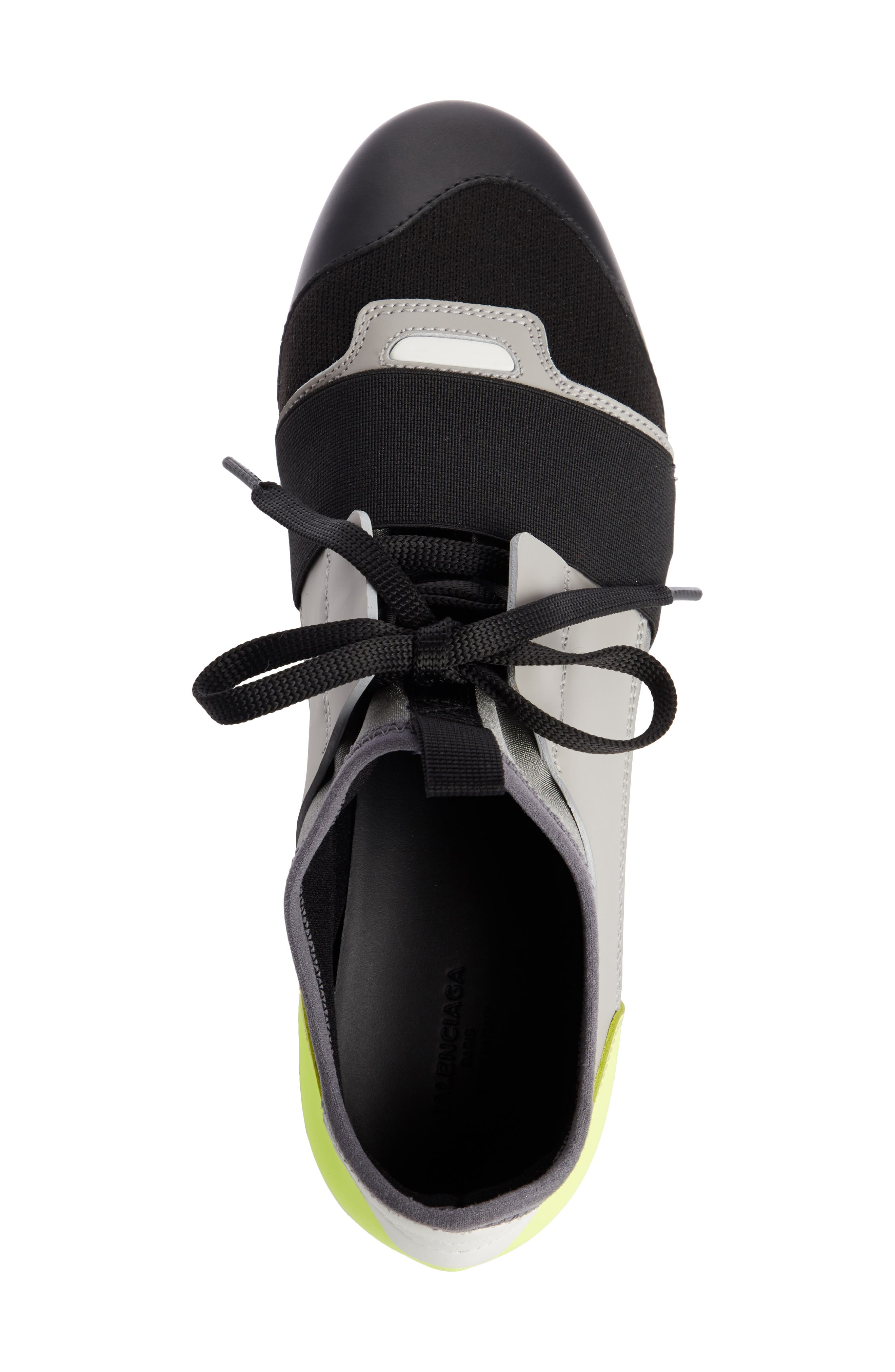 Lace-Up Sneaker,                             Alternate thumbnail 4, color,                             BLACK/ GREY/ YELLOW