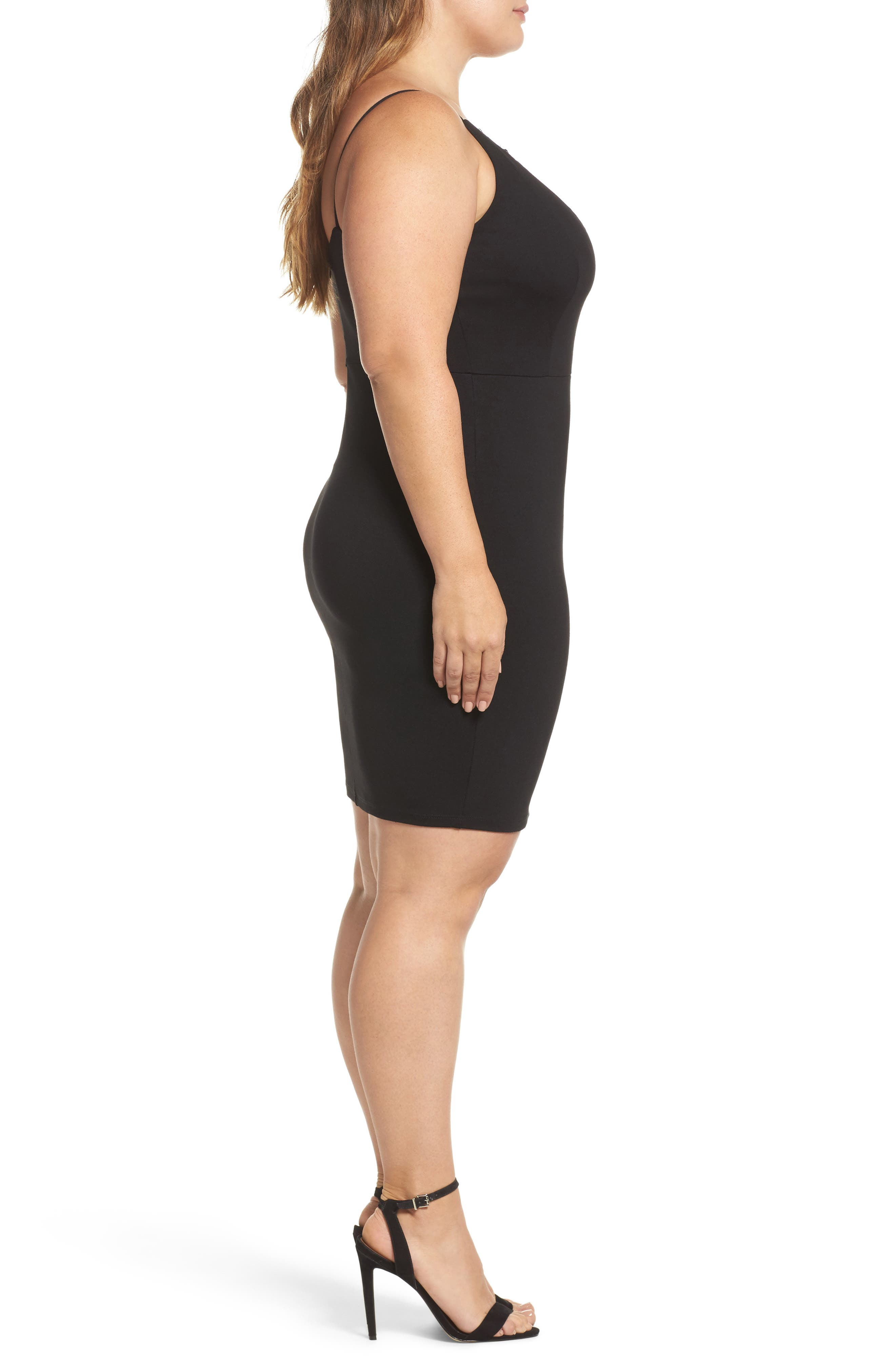 Lace Trim Body-Con Dress,                             Alternate thumbnail 3, color,                             001