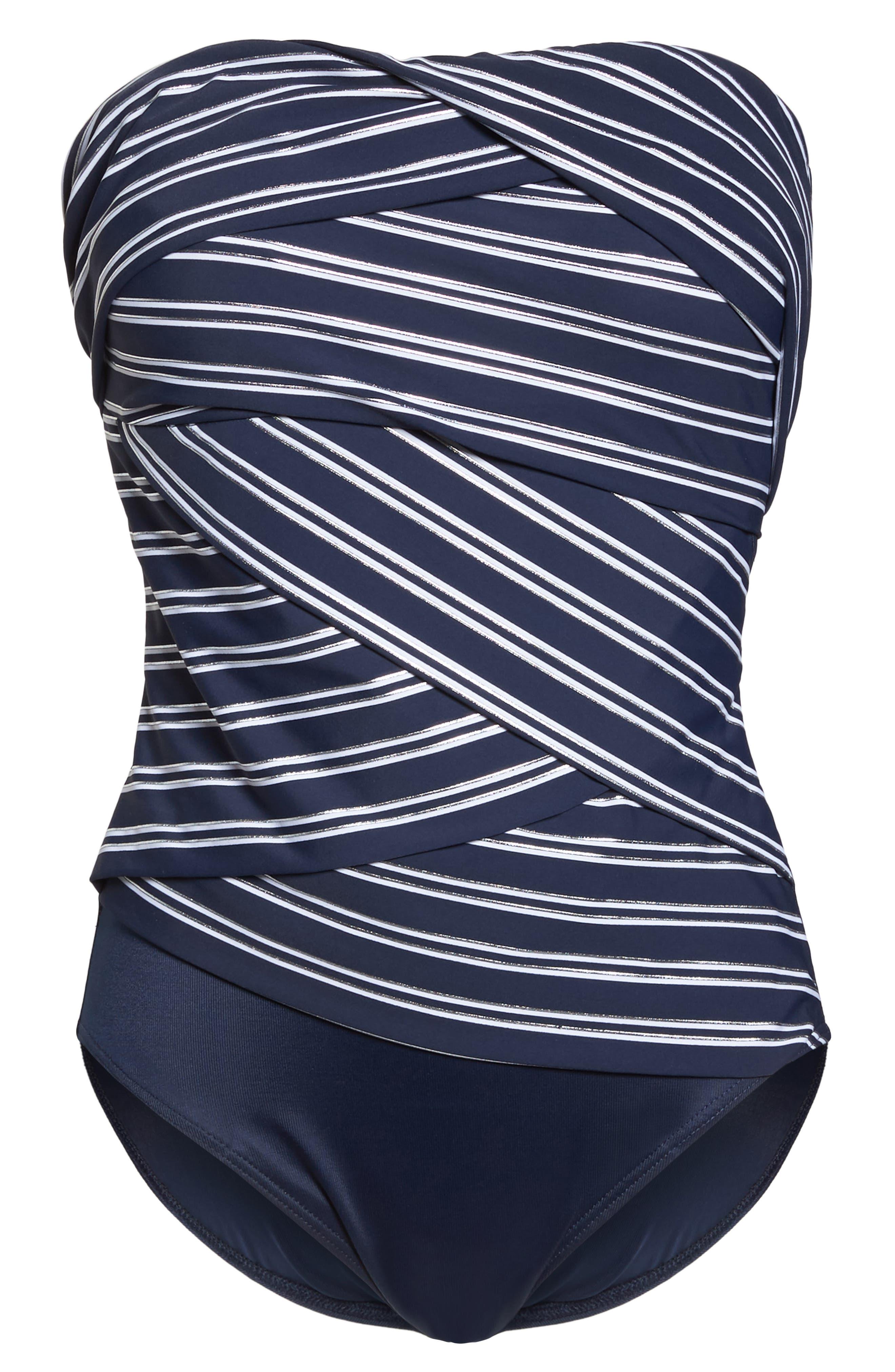 Lanai Stripe Muse Strapless One-Piece Swimsuit,                             Alternate thumbnail 7, color,                             412
